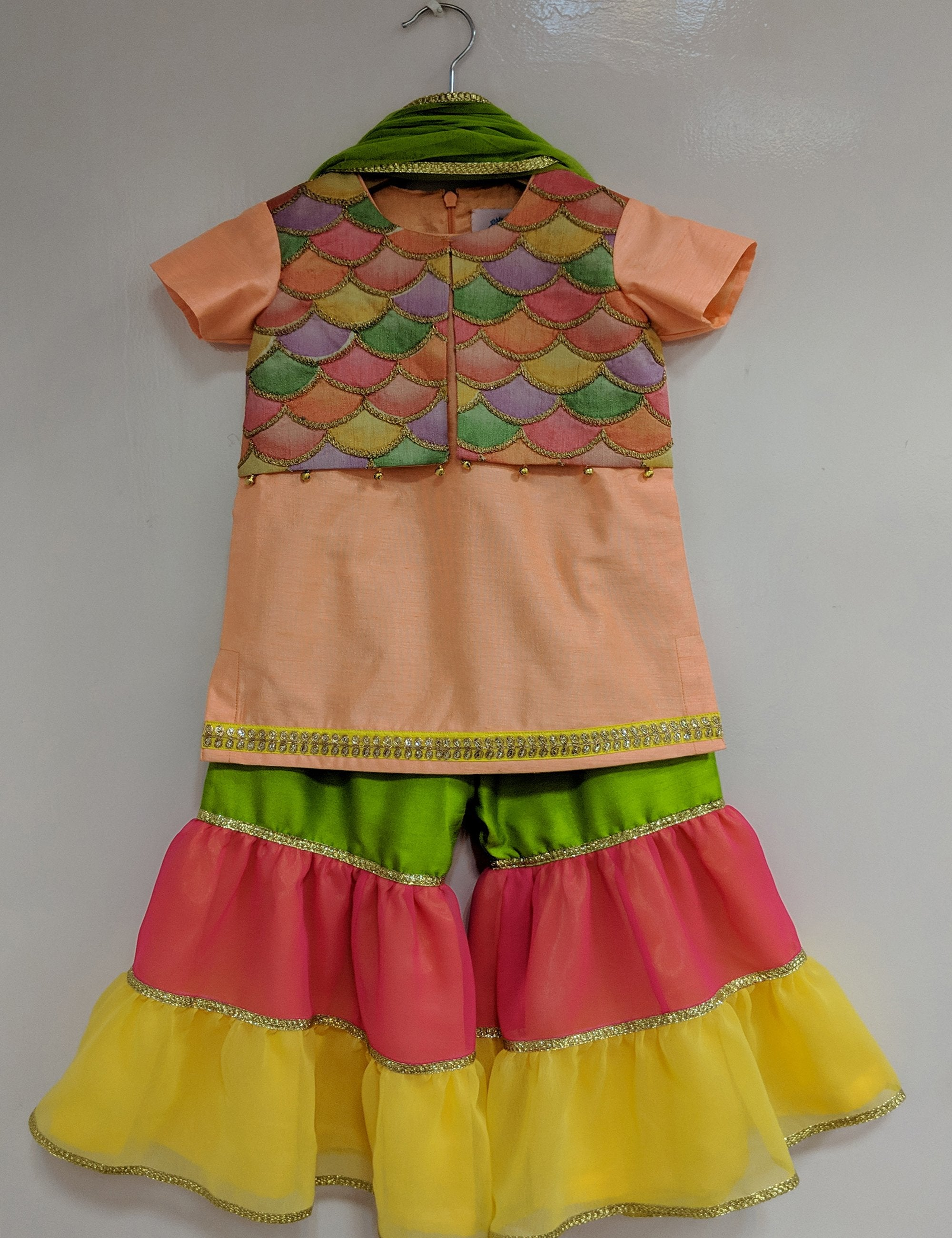 Multicolour Kurti Sharara Set