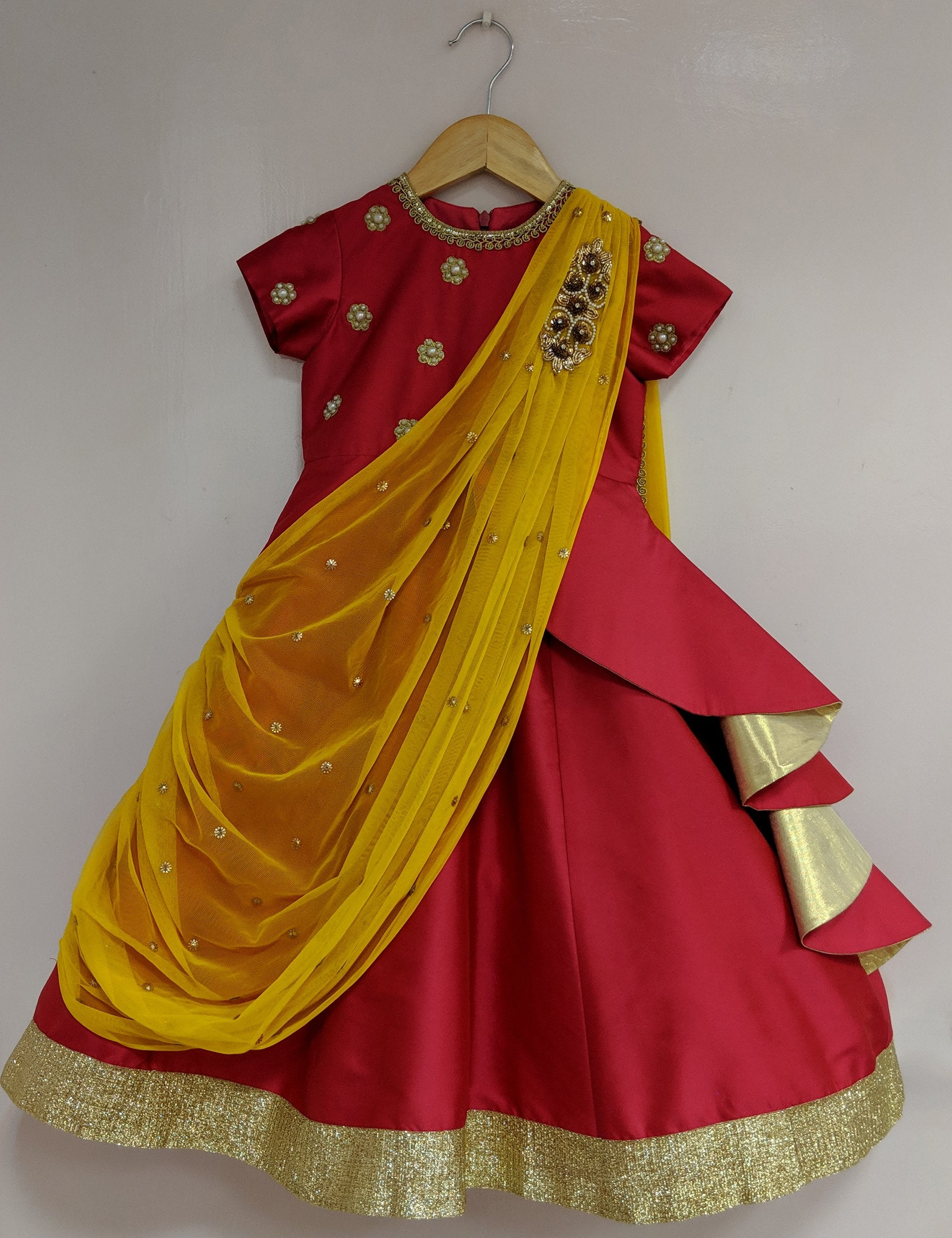 Red Draped Saree Indian Gown