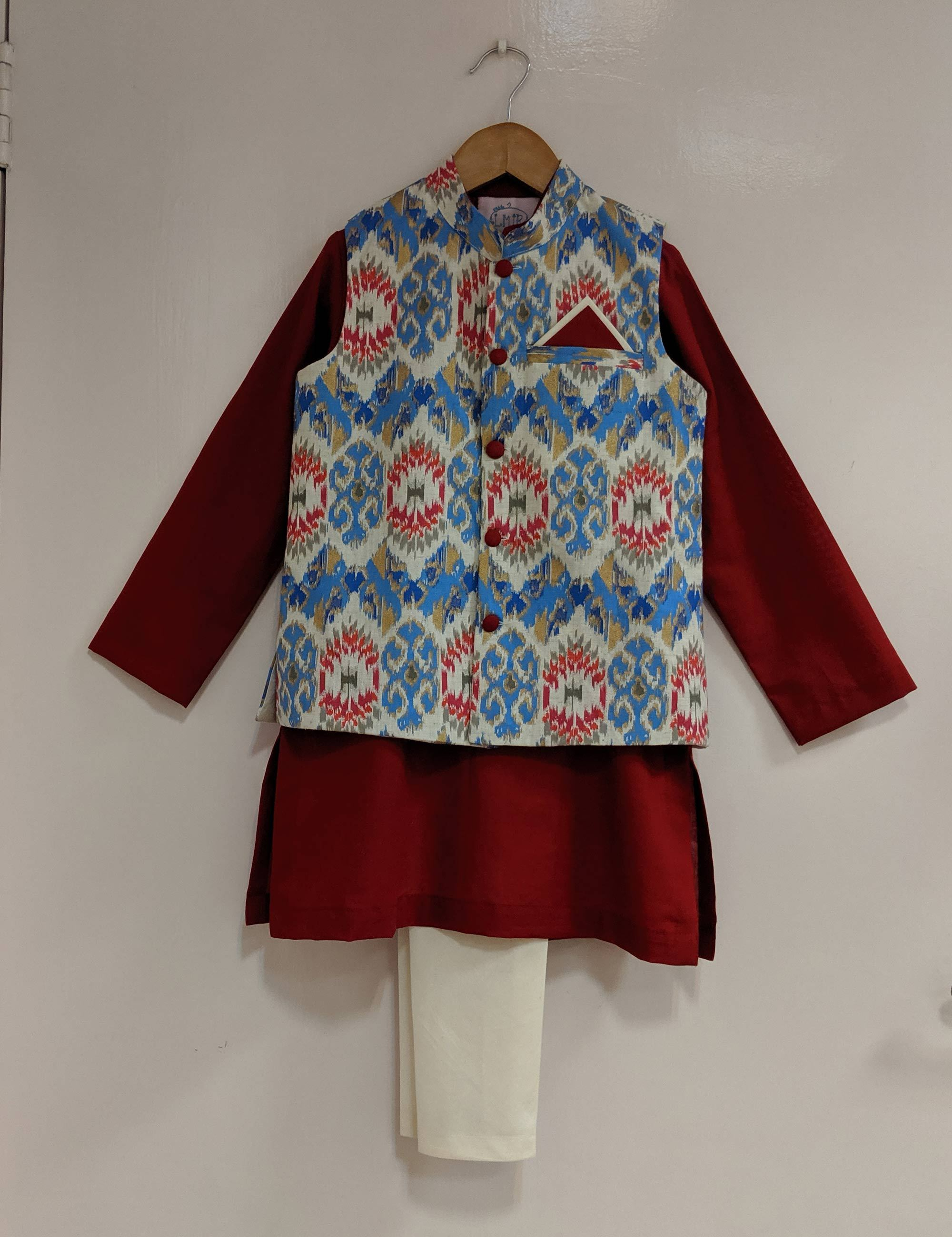 Blue Ikat Nehru Jacket Set