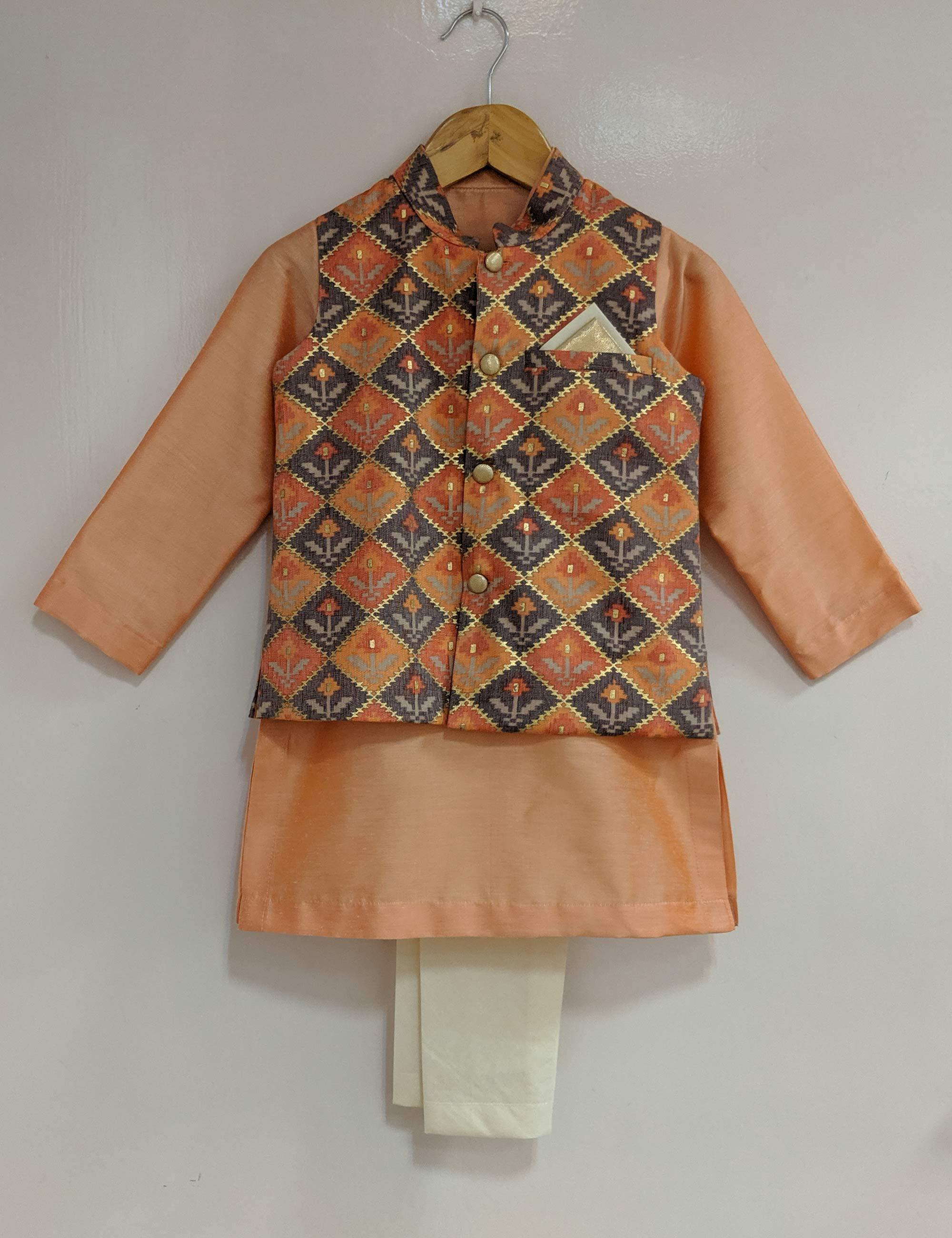 Orange Foil Print Nehru Jacket Set
