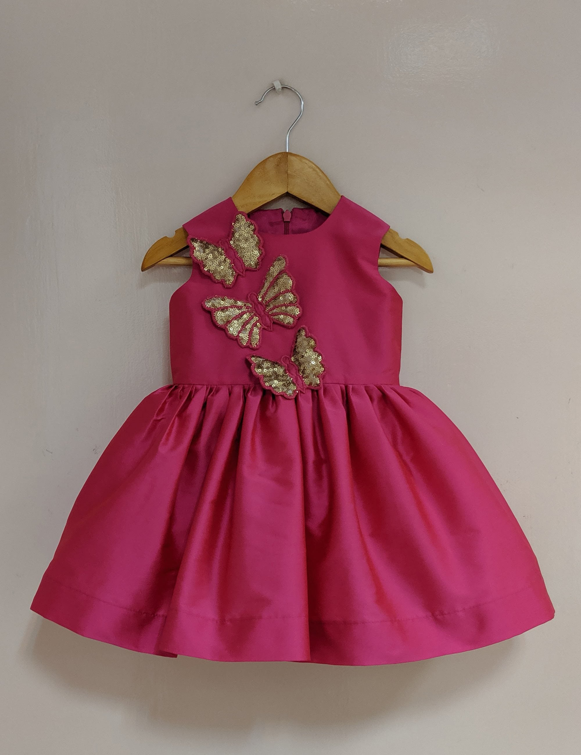 Fushia Gold Butterfly Dress