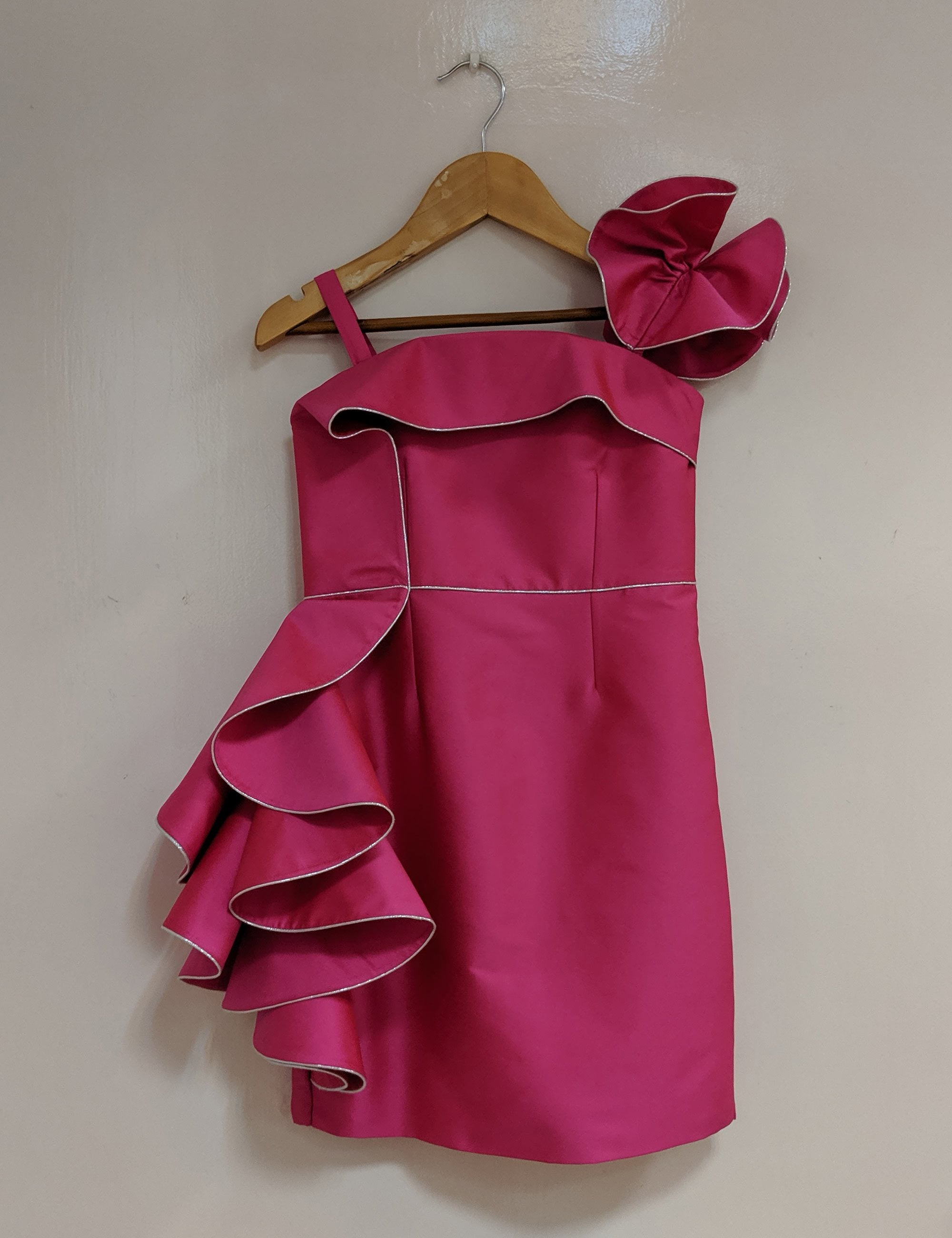 Fushia Piping Dress With Cascade Frill
