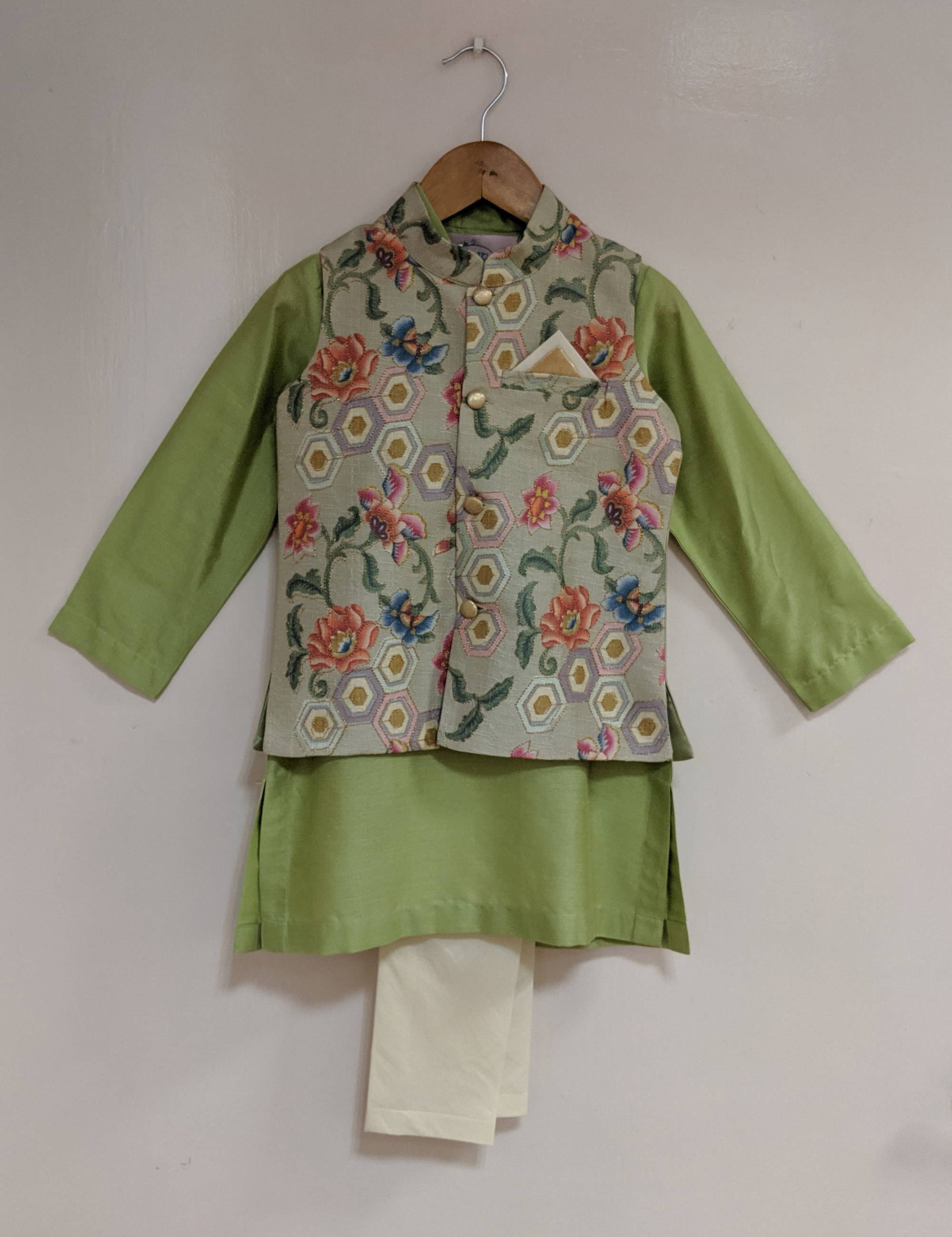 Green Floral Nehru Jacket Set