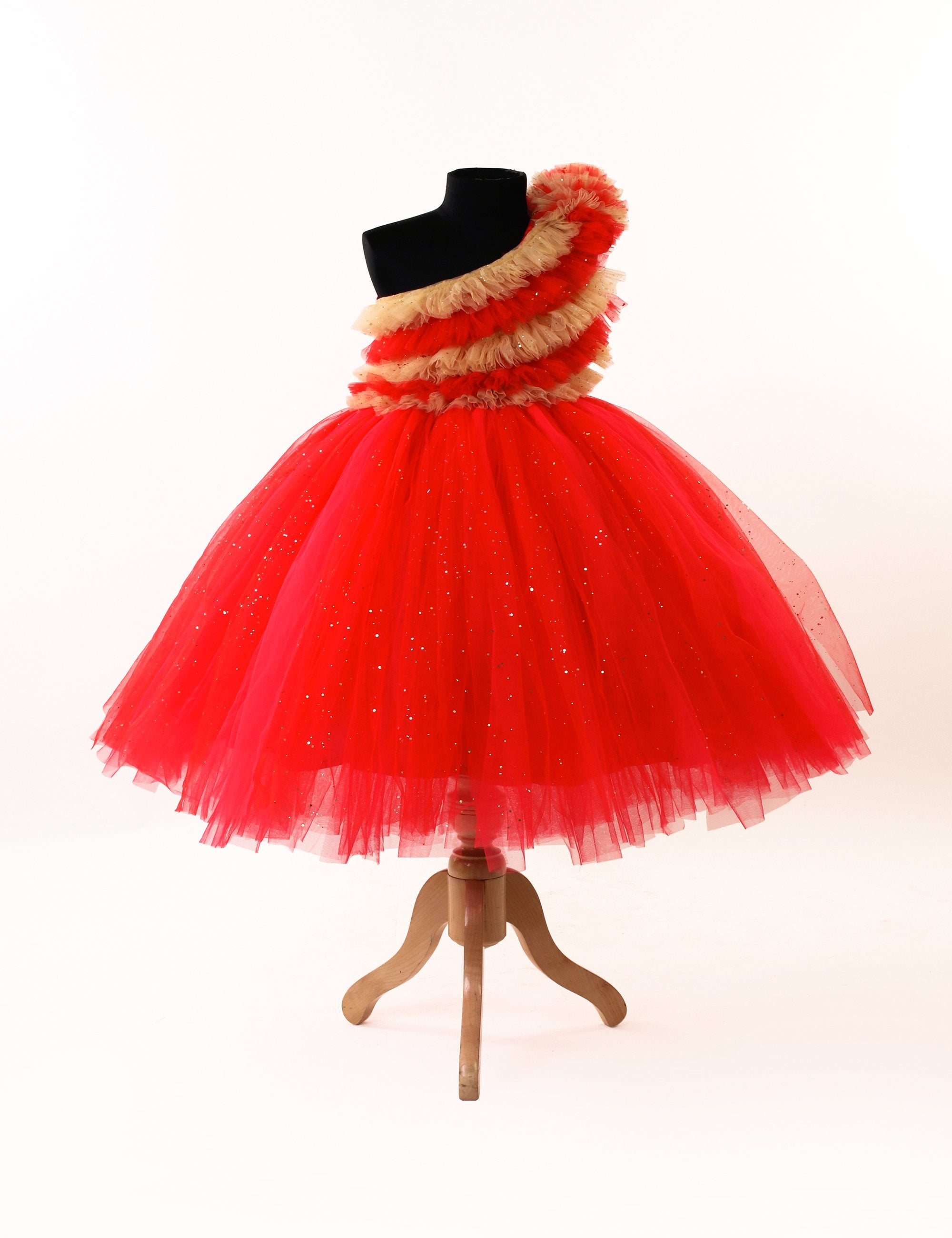 Frilled Gown In Red and Beige