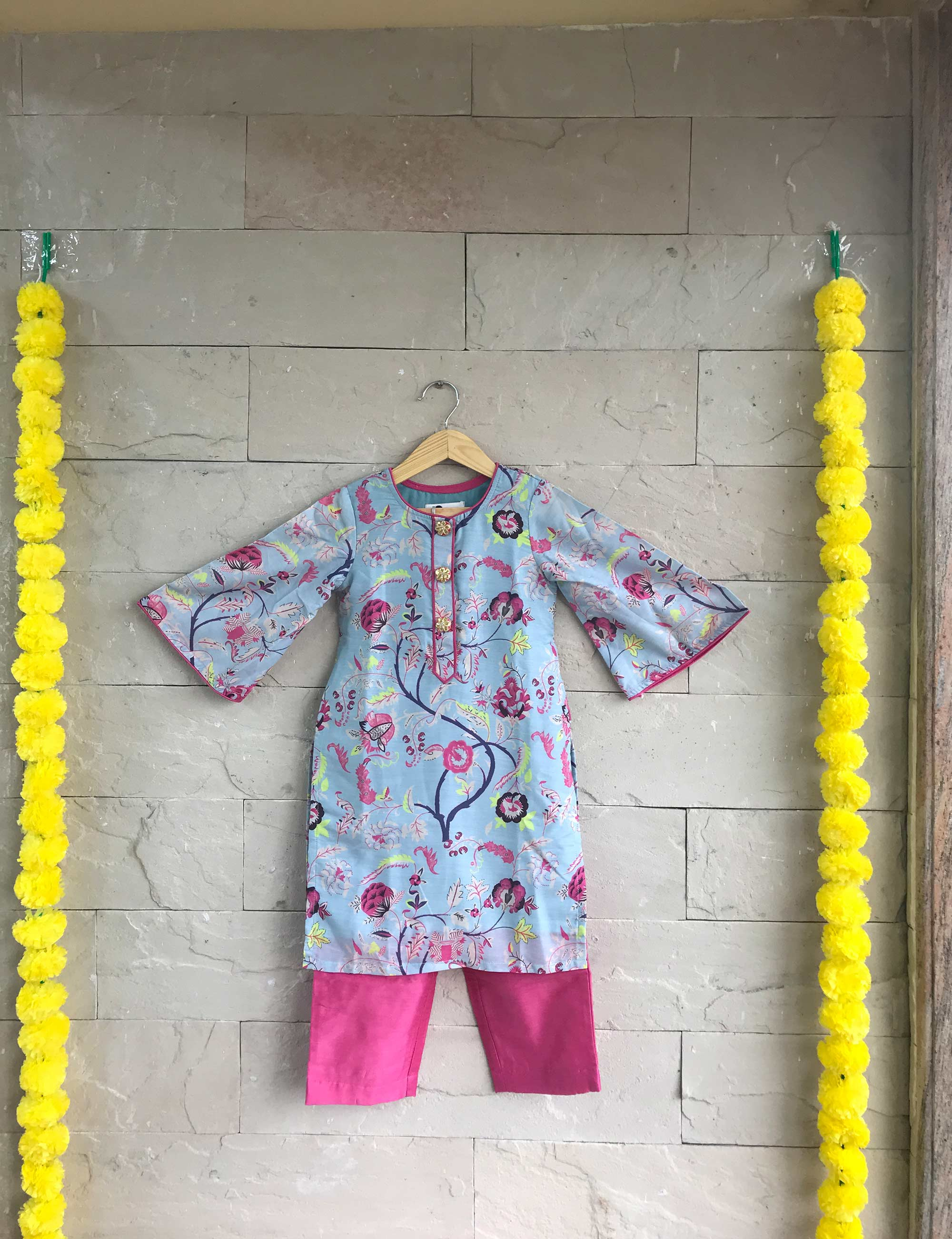 Flared Sleeve Kurta and Cropped Pants for Girls