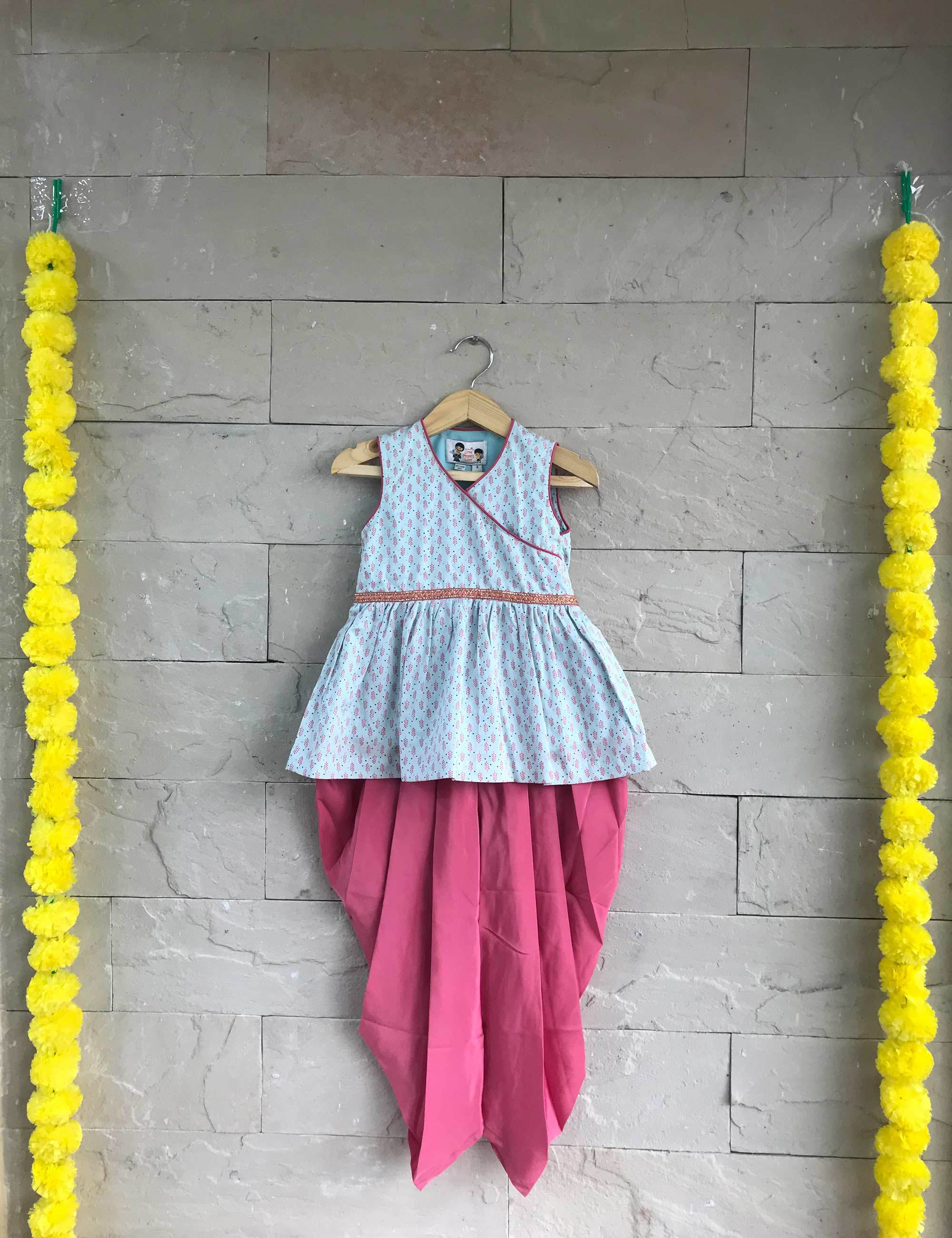 Cotton Silk Dhoti Set for Girls