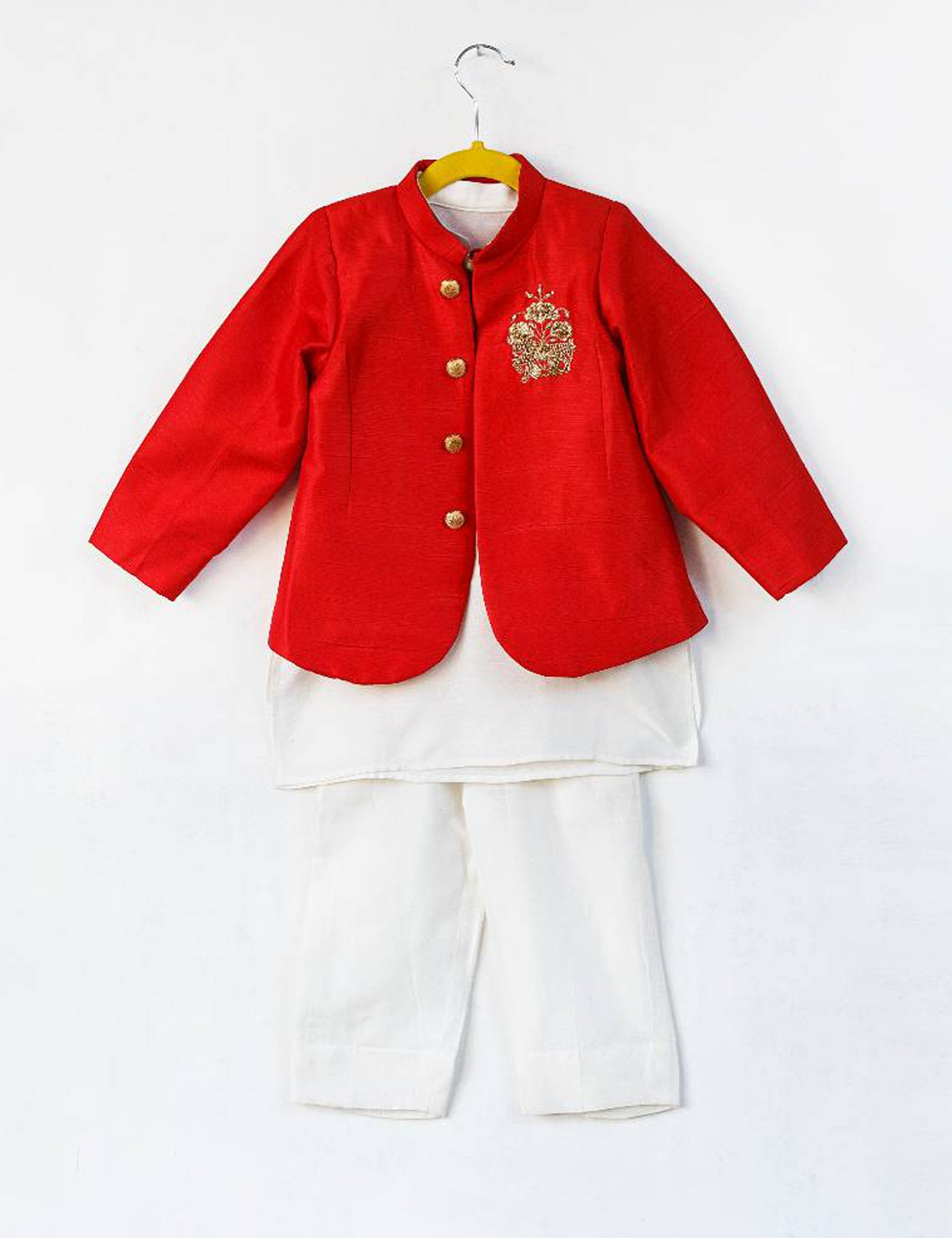 Red Embroidered Blazer with Kurta Pants for Boys