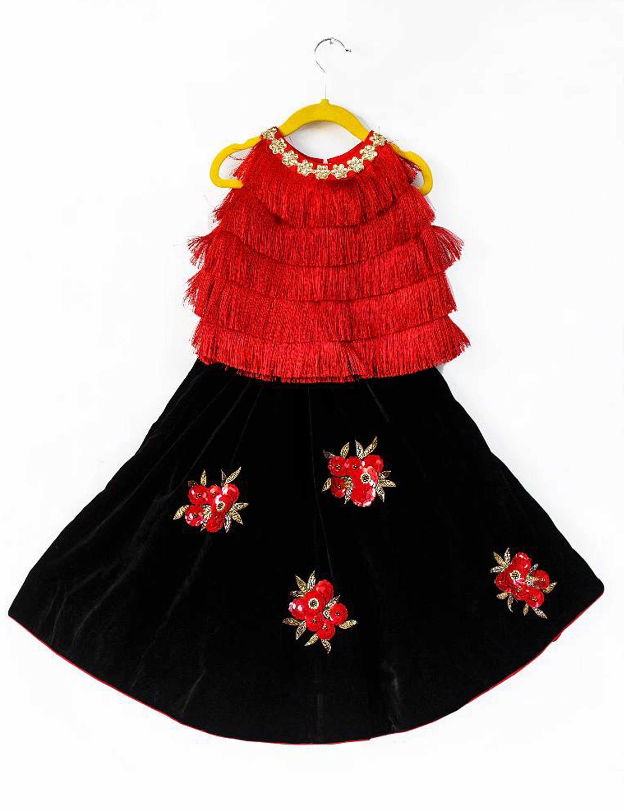 Red Fringe Top with Velvet Embellished Skirt for Girls