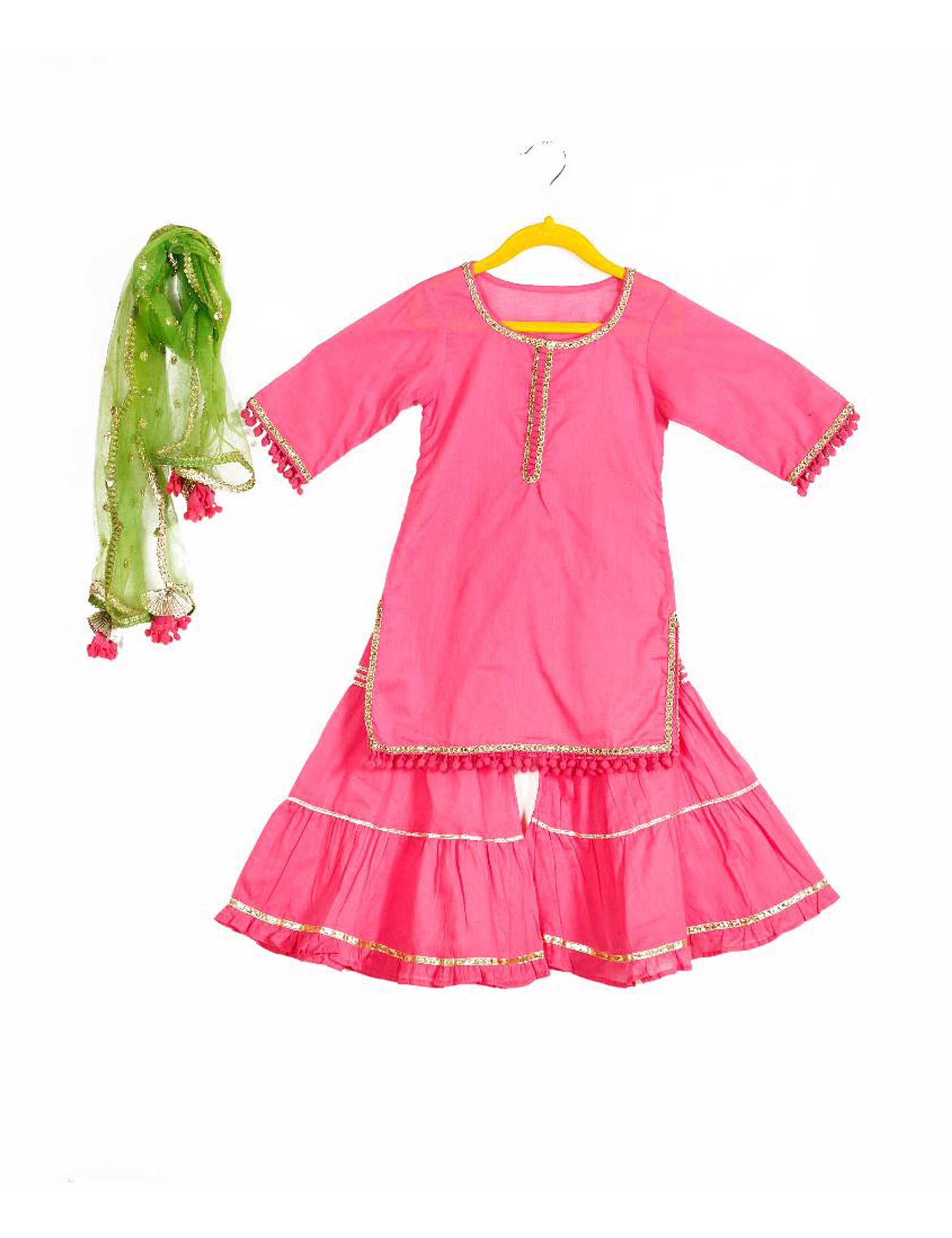 Baby Pink Sharara With Green Dupatta for Girls