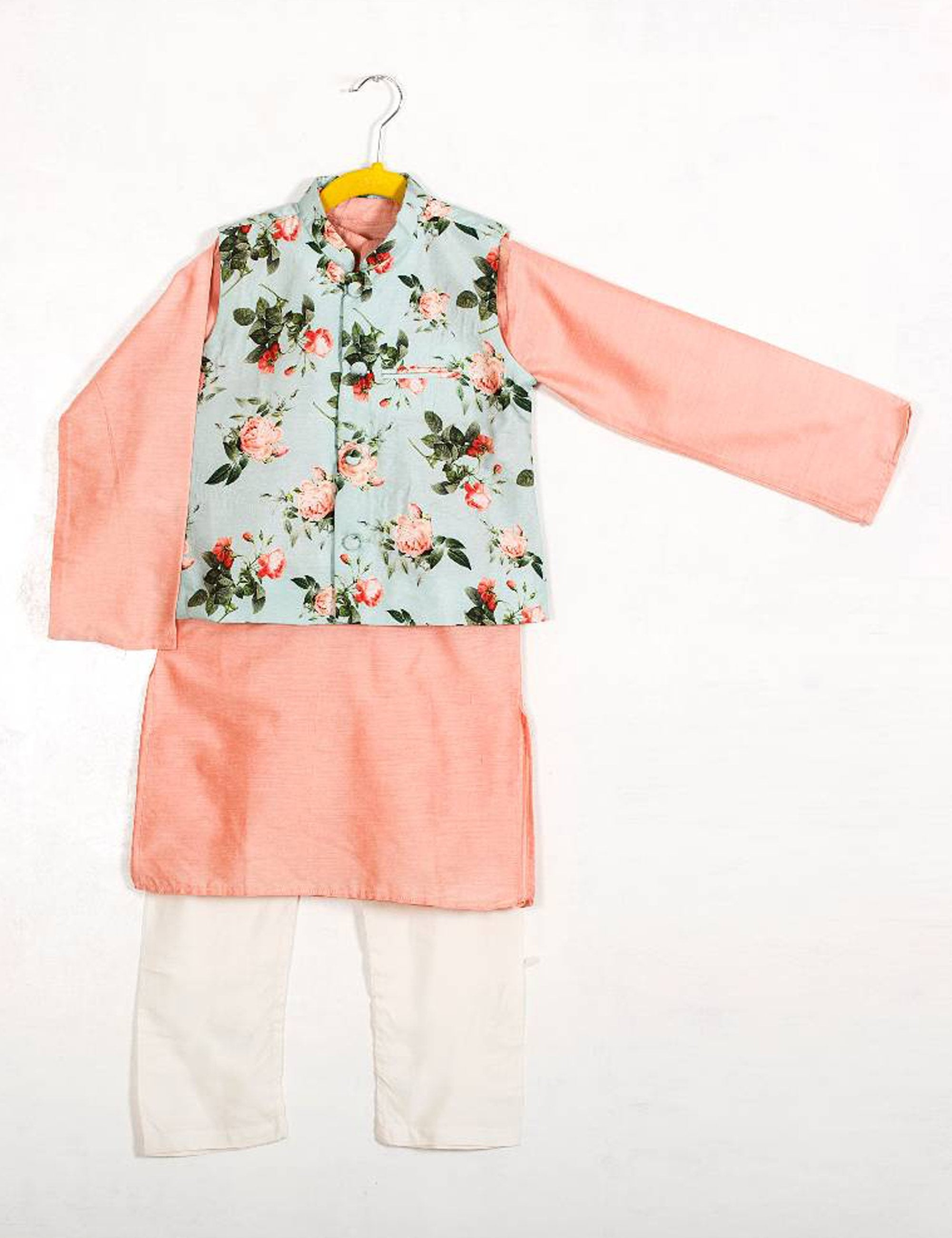 Floral Nehru Jacket with Kurta Set for Boys