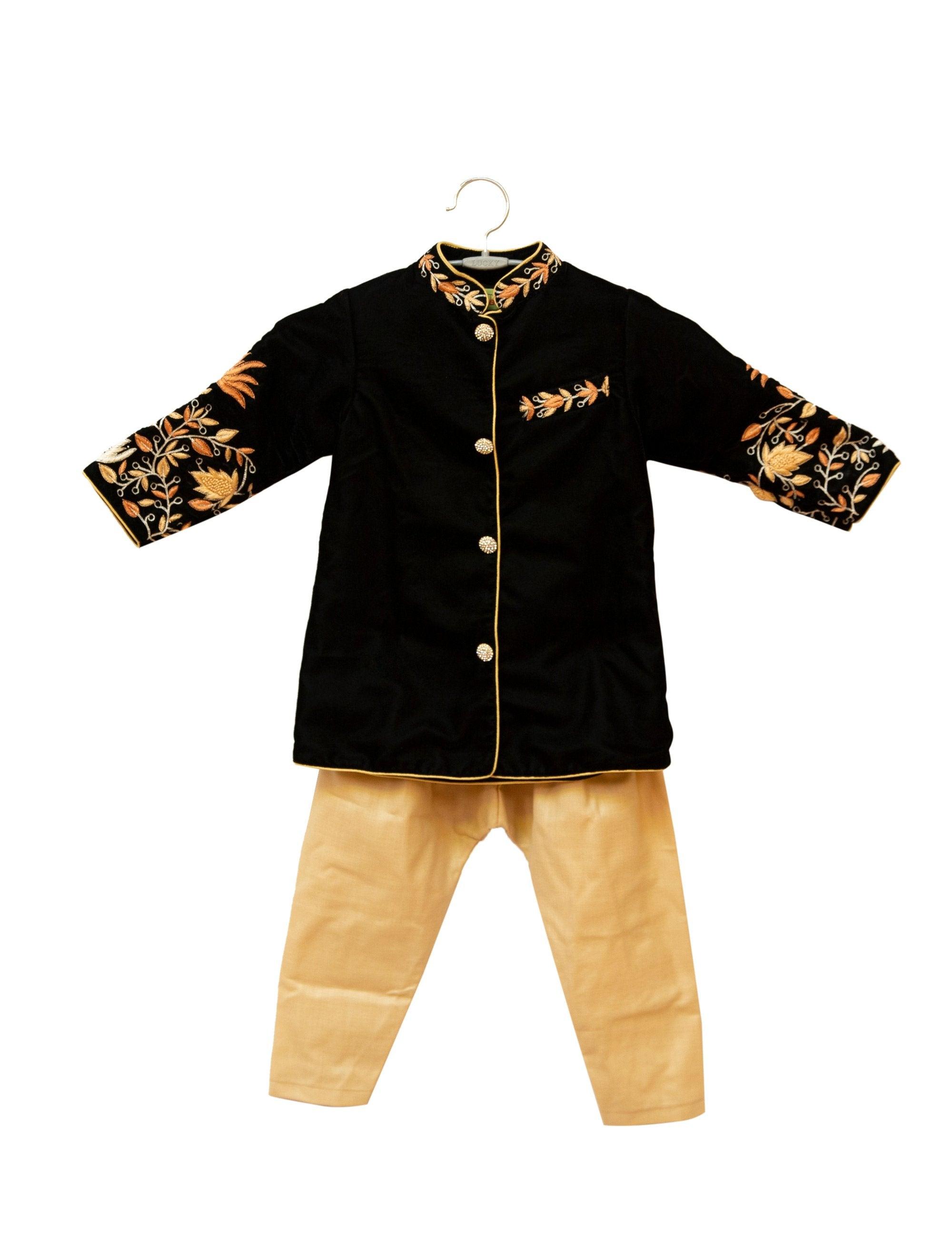 Black Embroidered Velvet Kurta Set for Boys