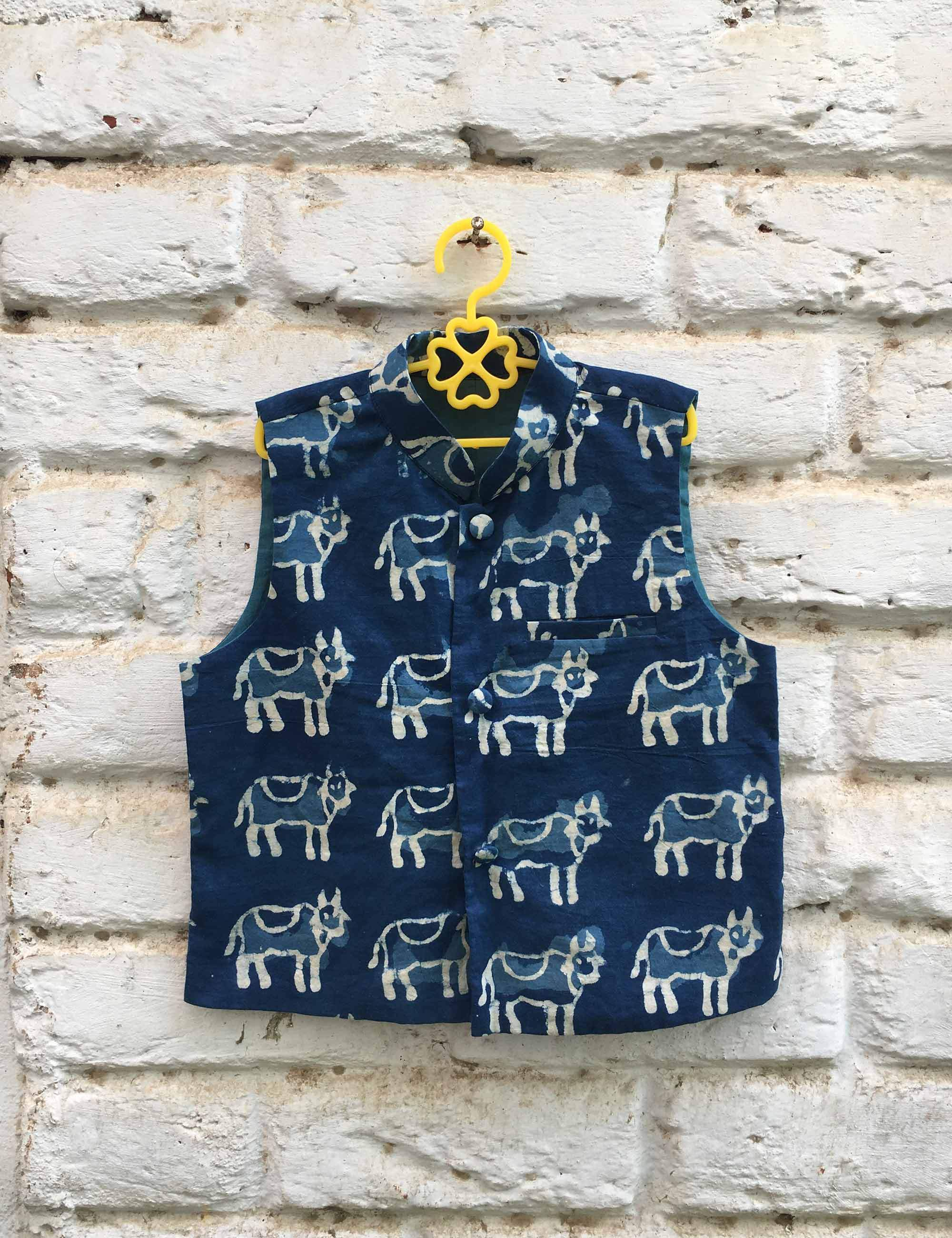 Indigo Printed Nehru Jacket for Boys