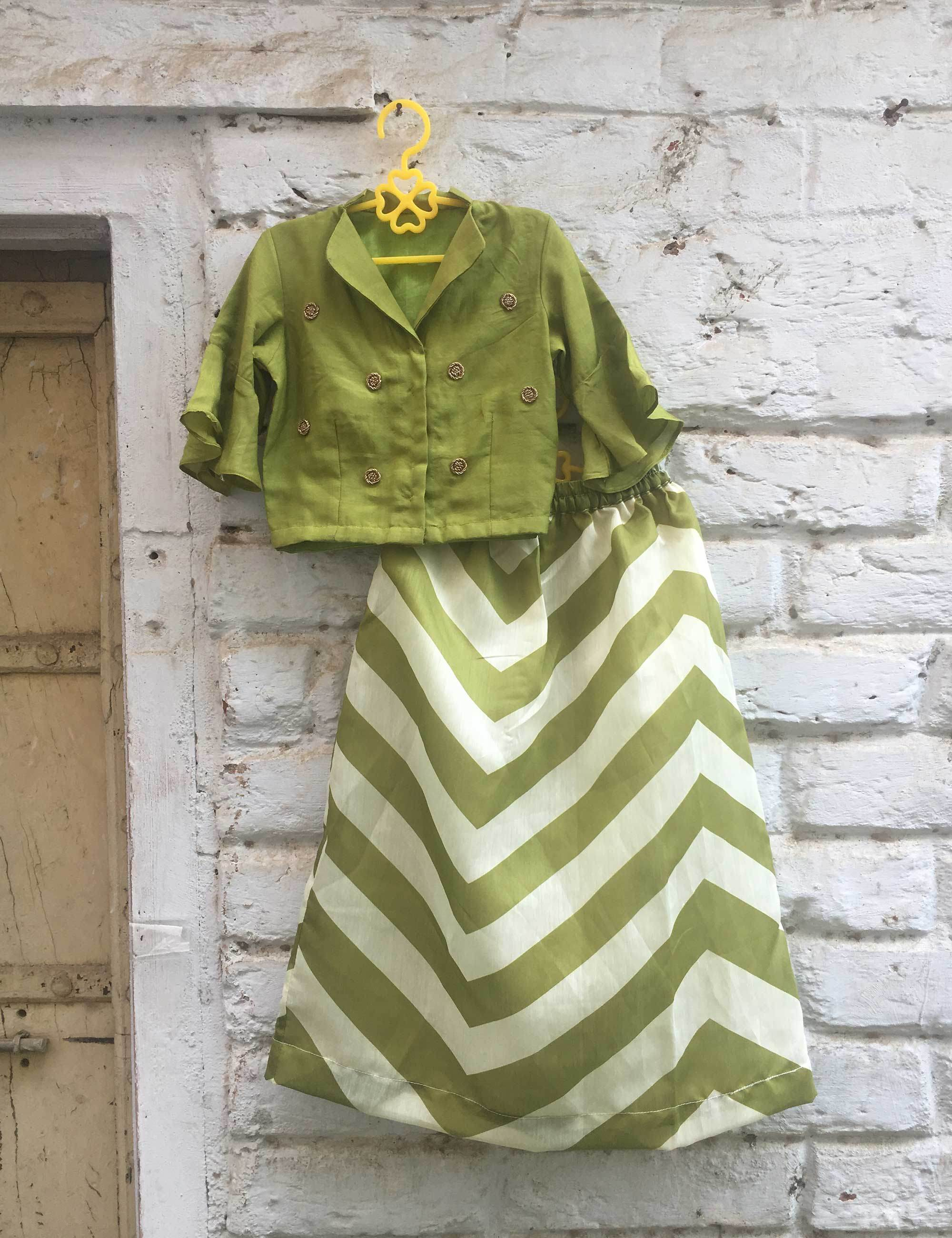Crop-Top with Skirt in Green Colour for Girls