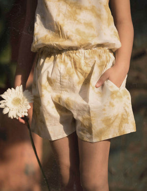 Tie and Dye Casual Jumpsuit in Yellow Colour for Girls