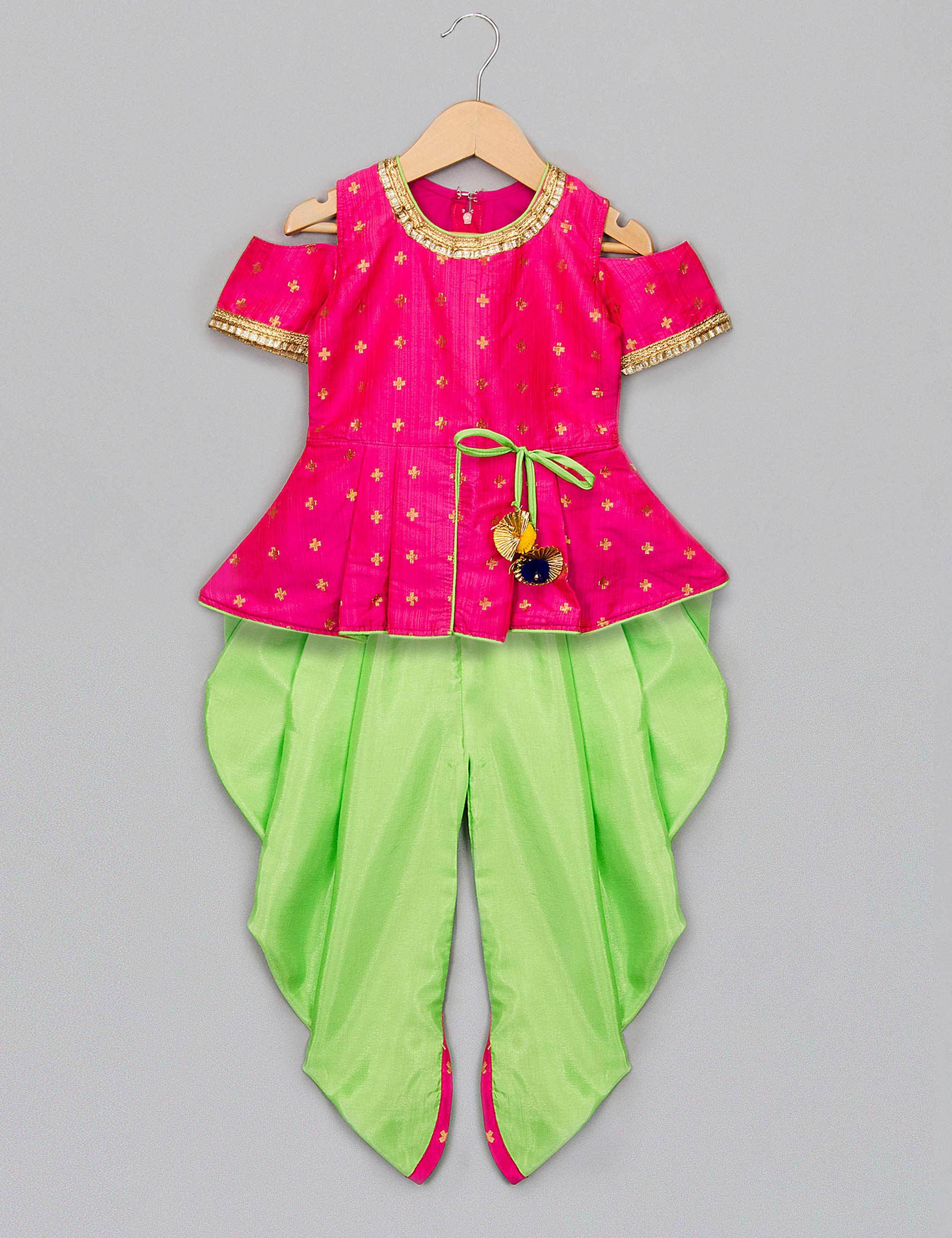 Nitara Peplum Top with Dhoti for Girls