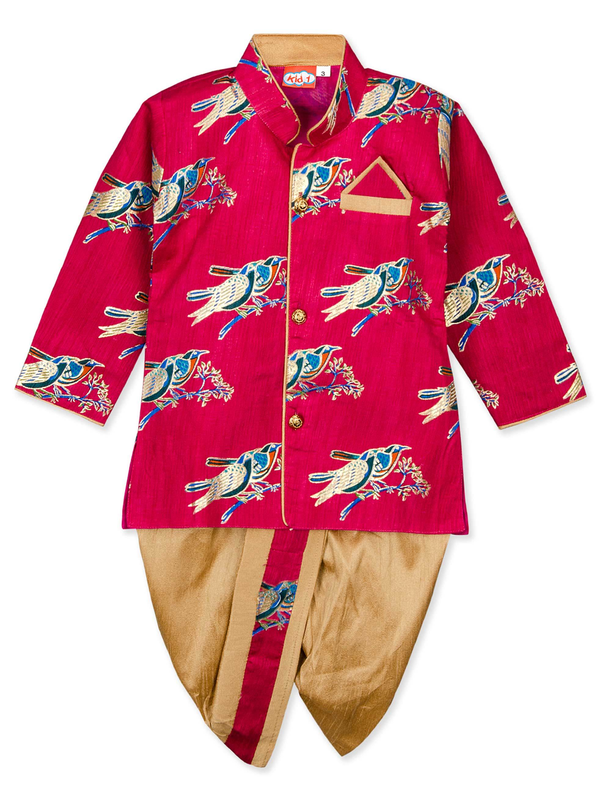 Bird Song Printed Dhoti Kurta Set for Boys