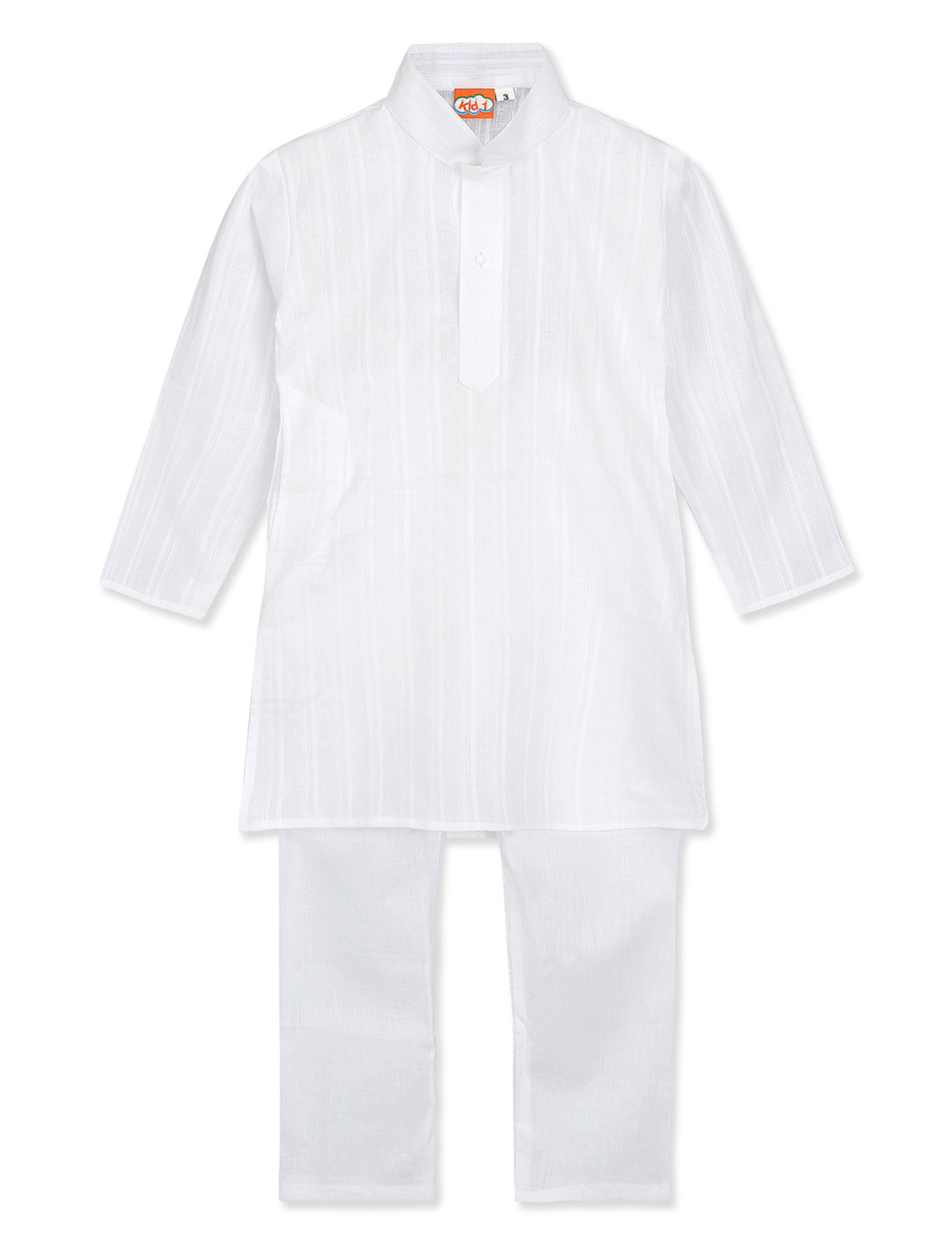 Handloom White Kurta Pyjama Set for Boys