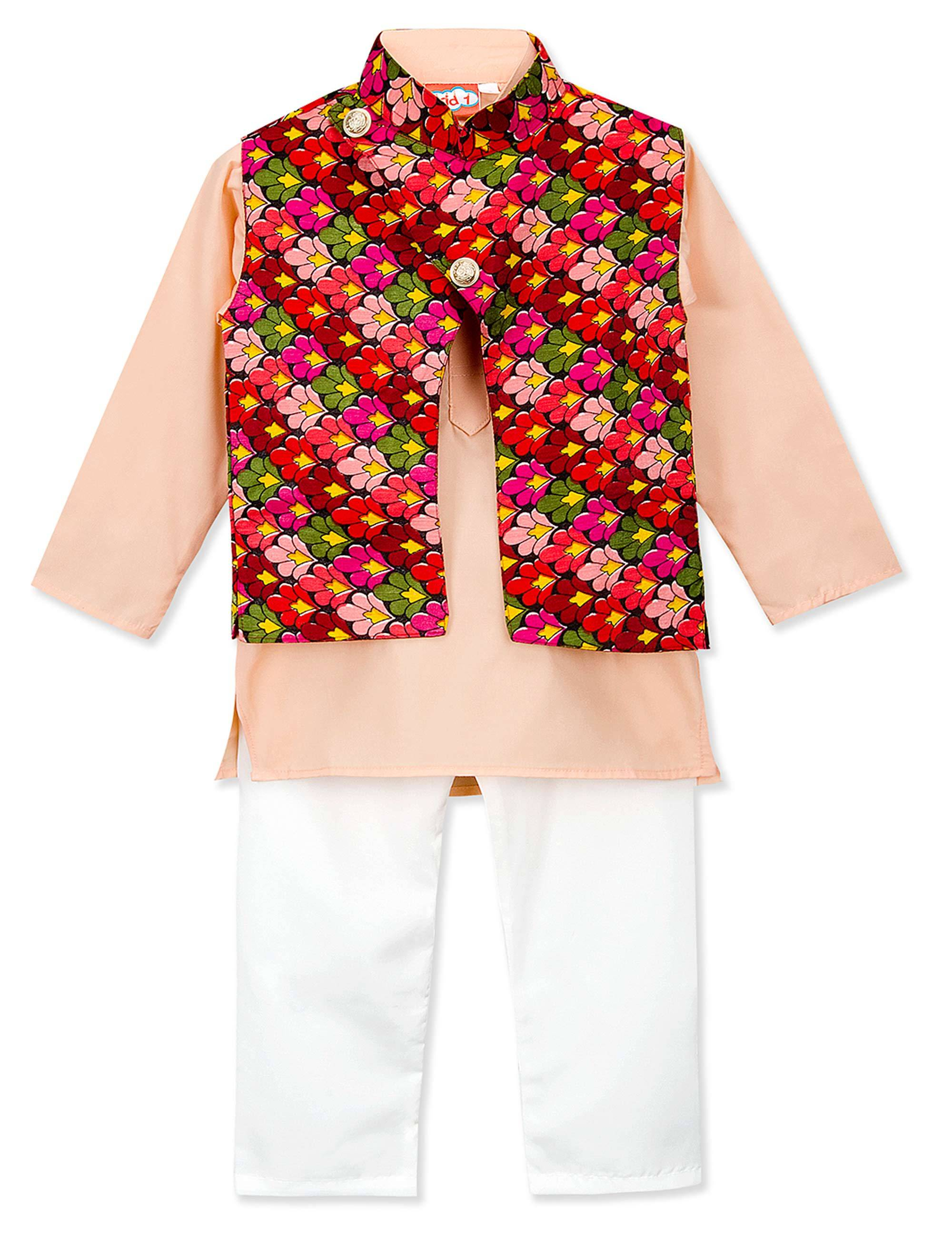 Embroidered Kurta Jacket Set for Boys