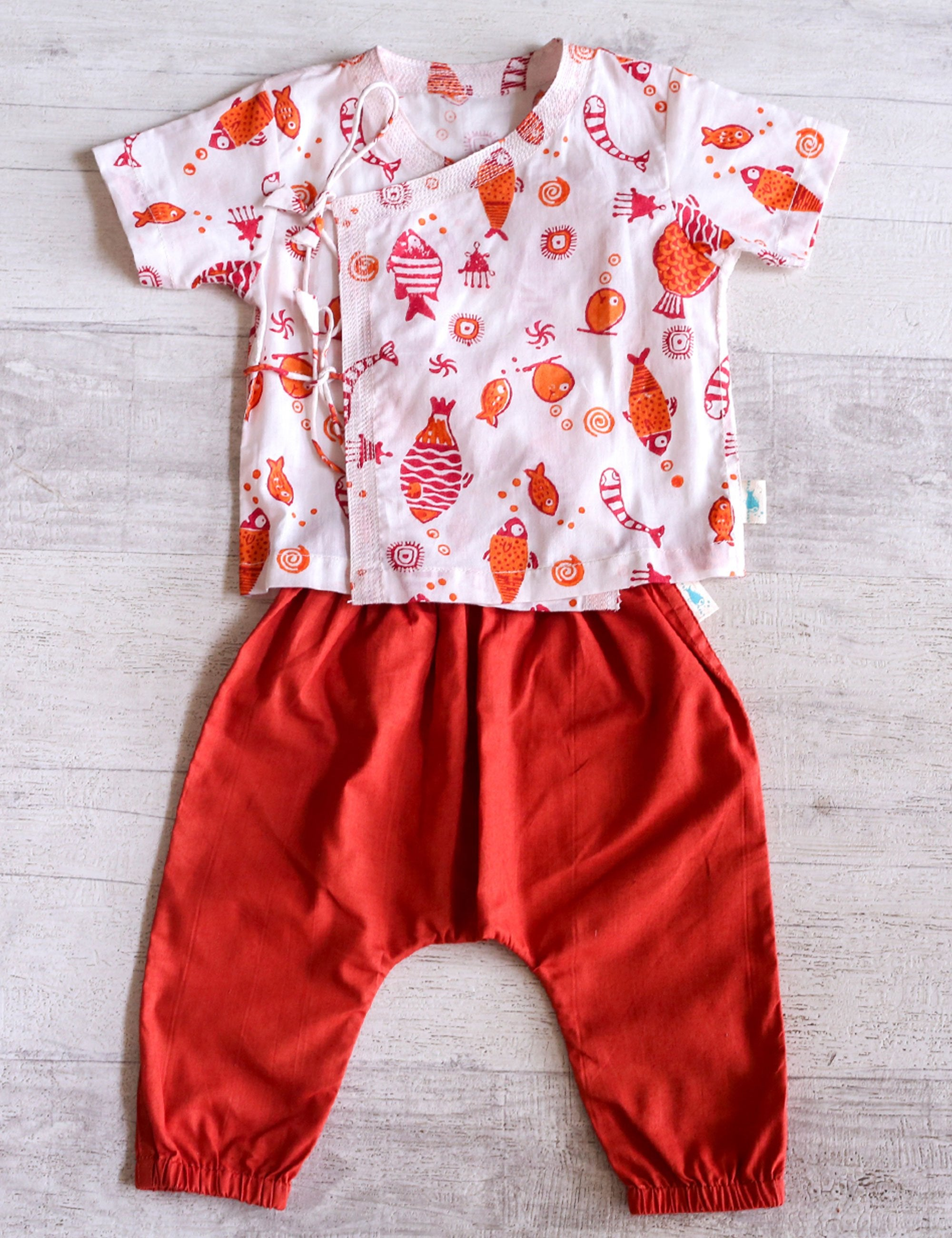 Fish Print Top with Pajama In White and Red Colour for Girls and Boys