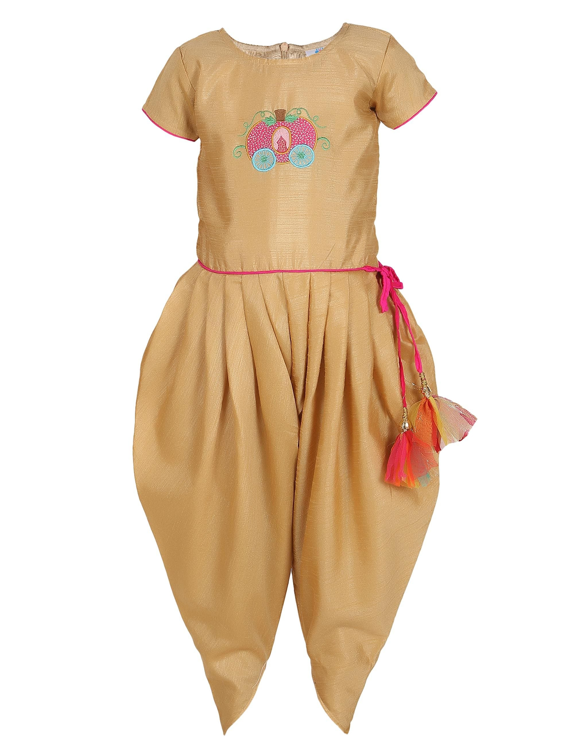 Beige Embroidered Ethnic Dhoti Jumpsuit for girls