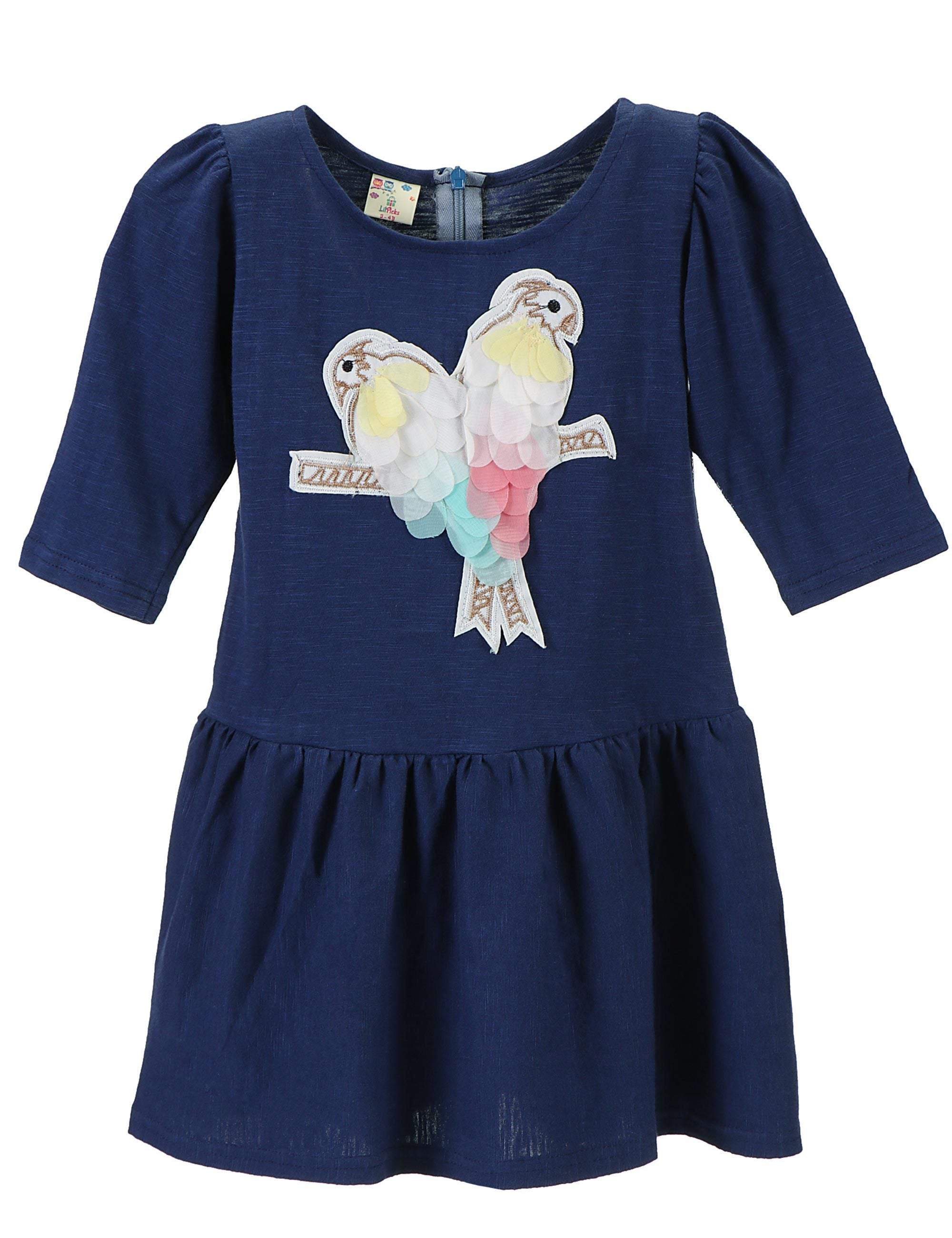 Indigo Blue Parrot Patch Dress for Girls