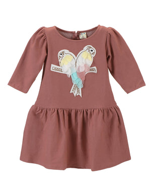 Dusty Pink Parrot Patch Dress for Girls