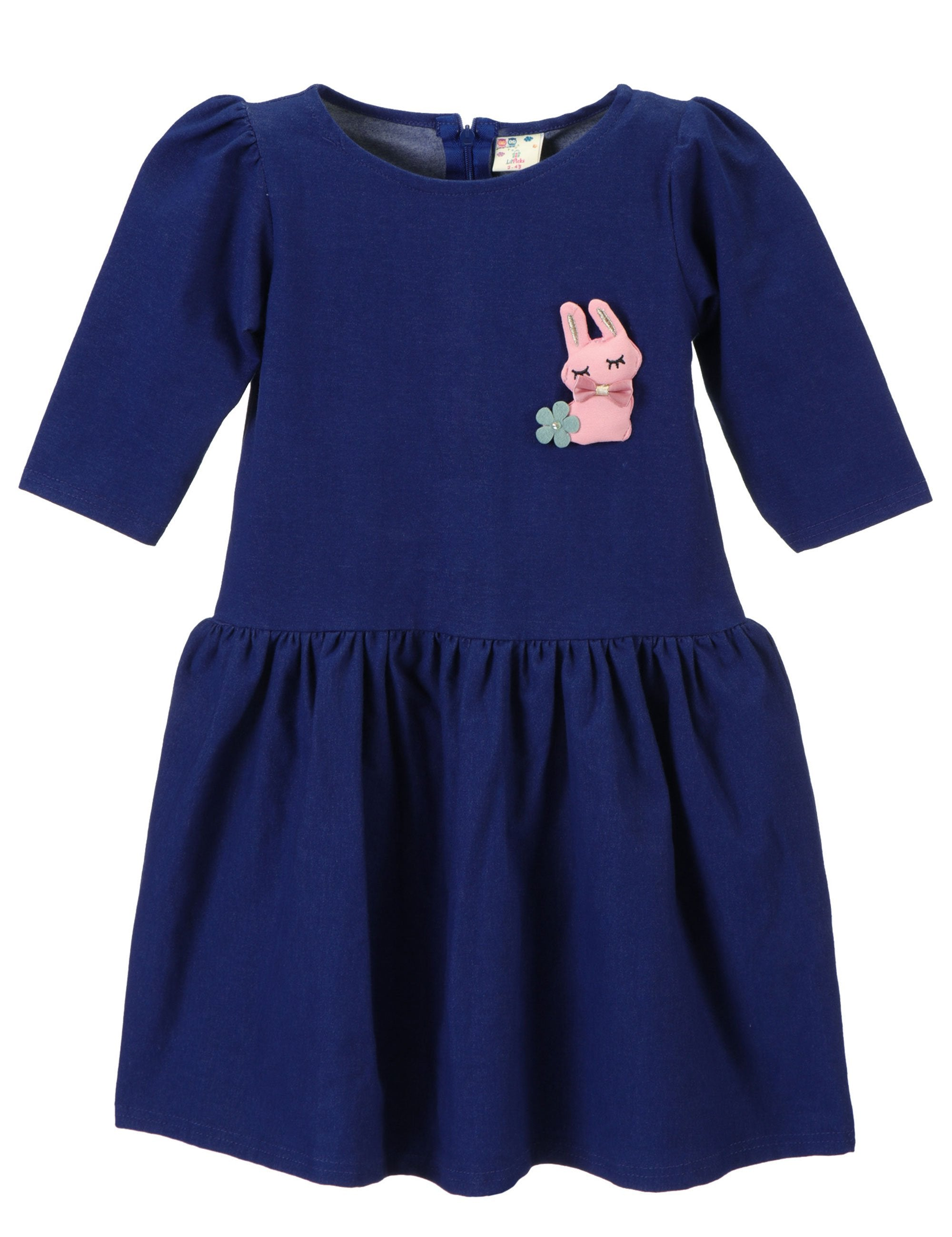 Denim Blue Rabbit Patch Dress for Girls