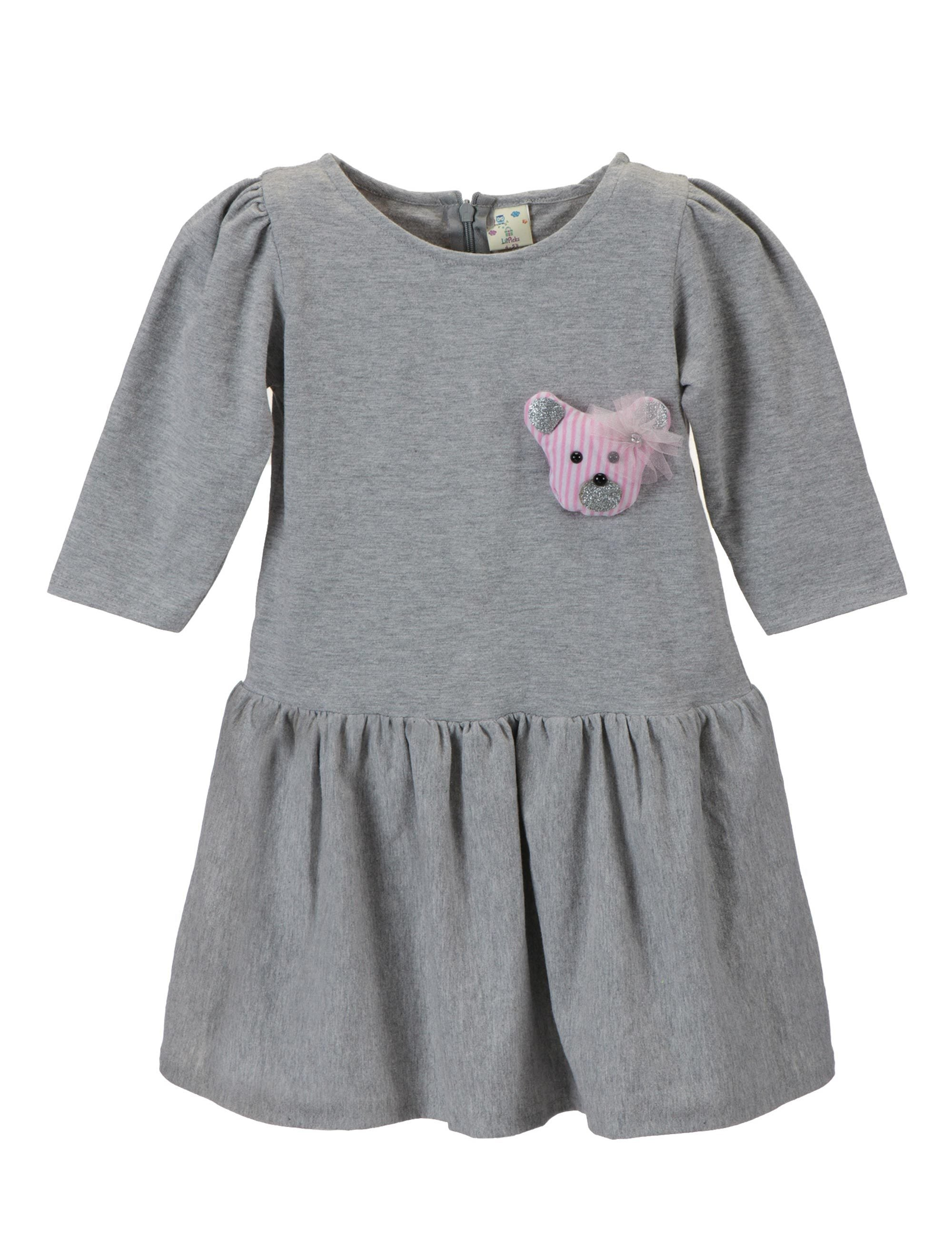 Grey Teddy Patch Dress for Girls