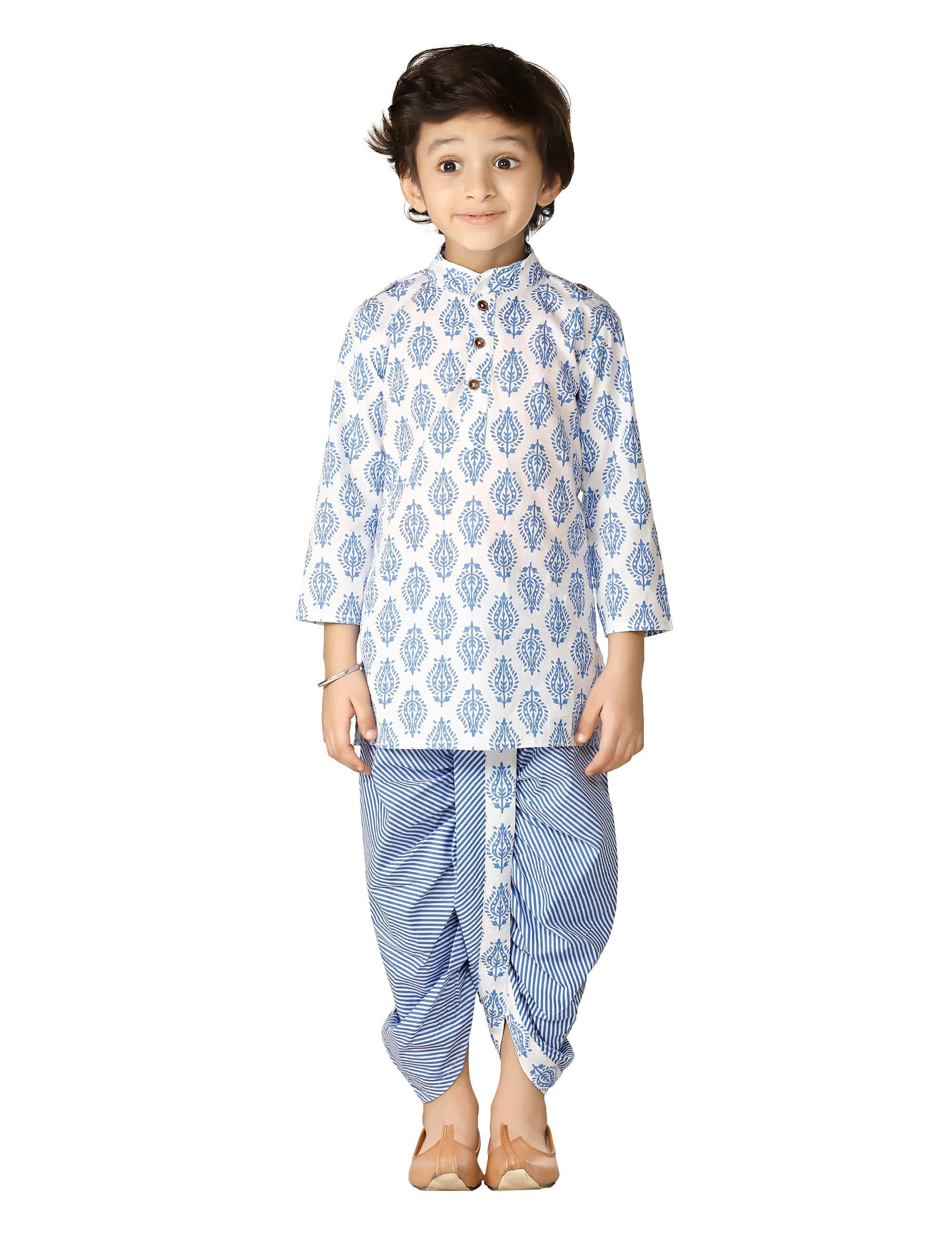 Blue Block Print Dhoti Kurta Set for Boys