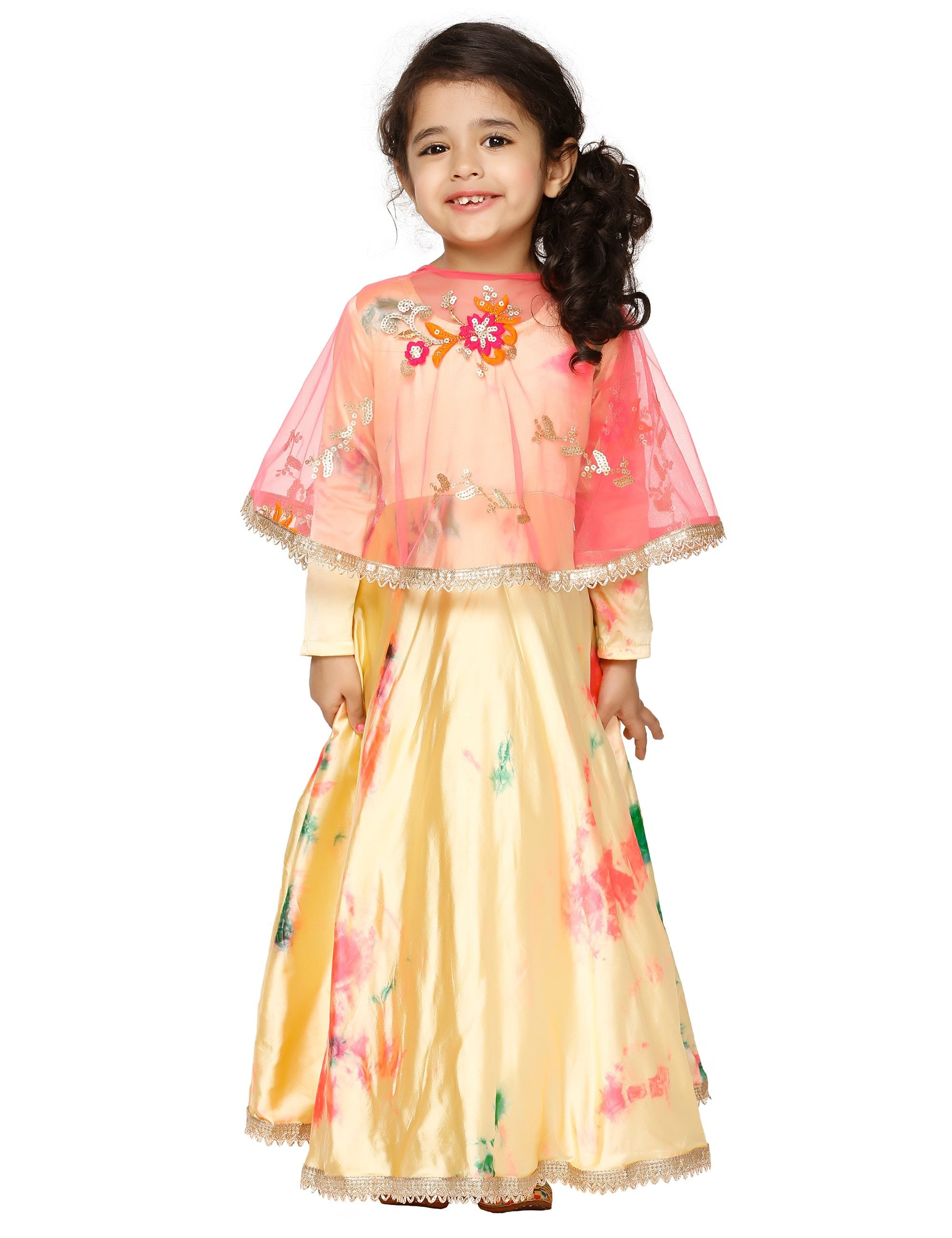 Beige Marble Print Cape Gown for Girls