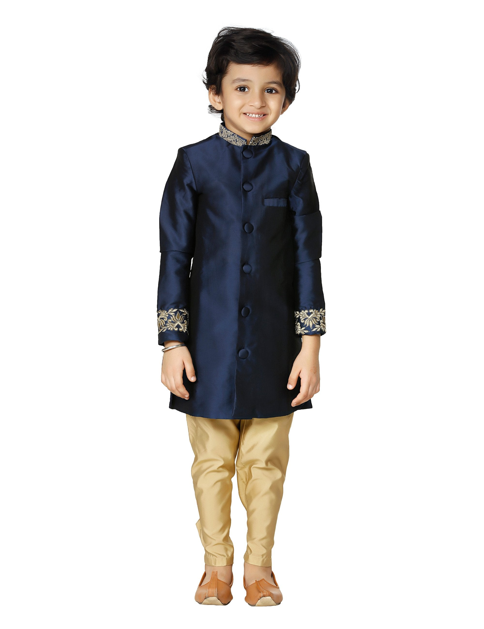 Navy Embroidered Sherwani Gold Churidar Set for Boys