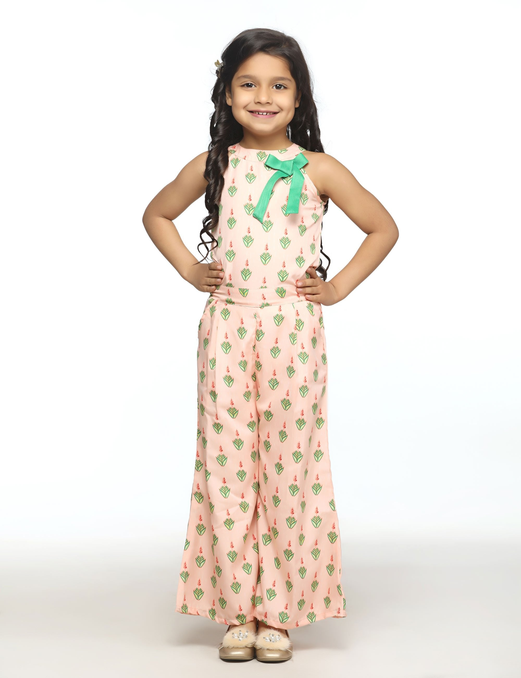 Floral Print Peach Bell Bottom Jumpsuit for Girls