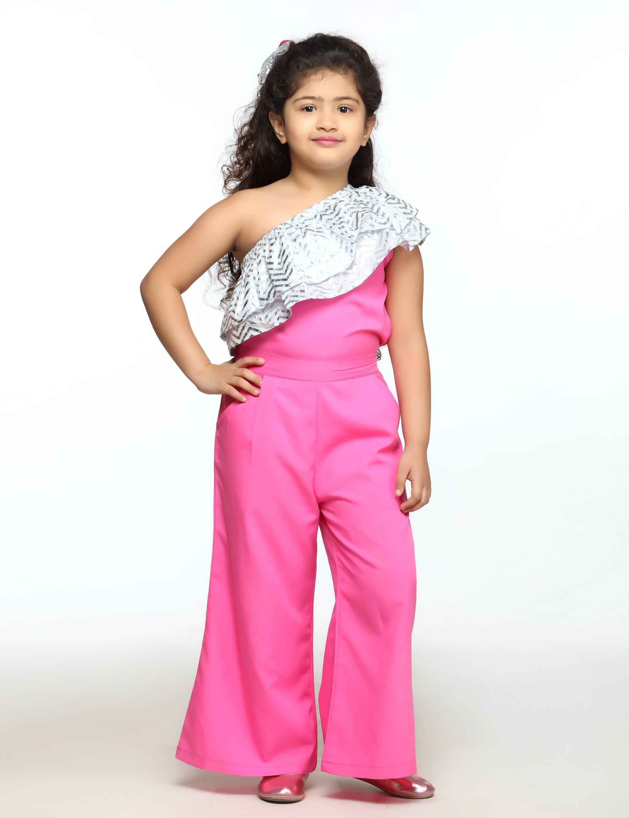 Fuchsia & Silver One Side Shoulder Jumpsuit for Girls