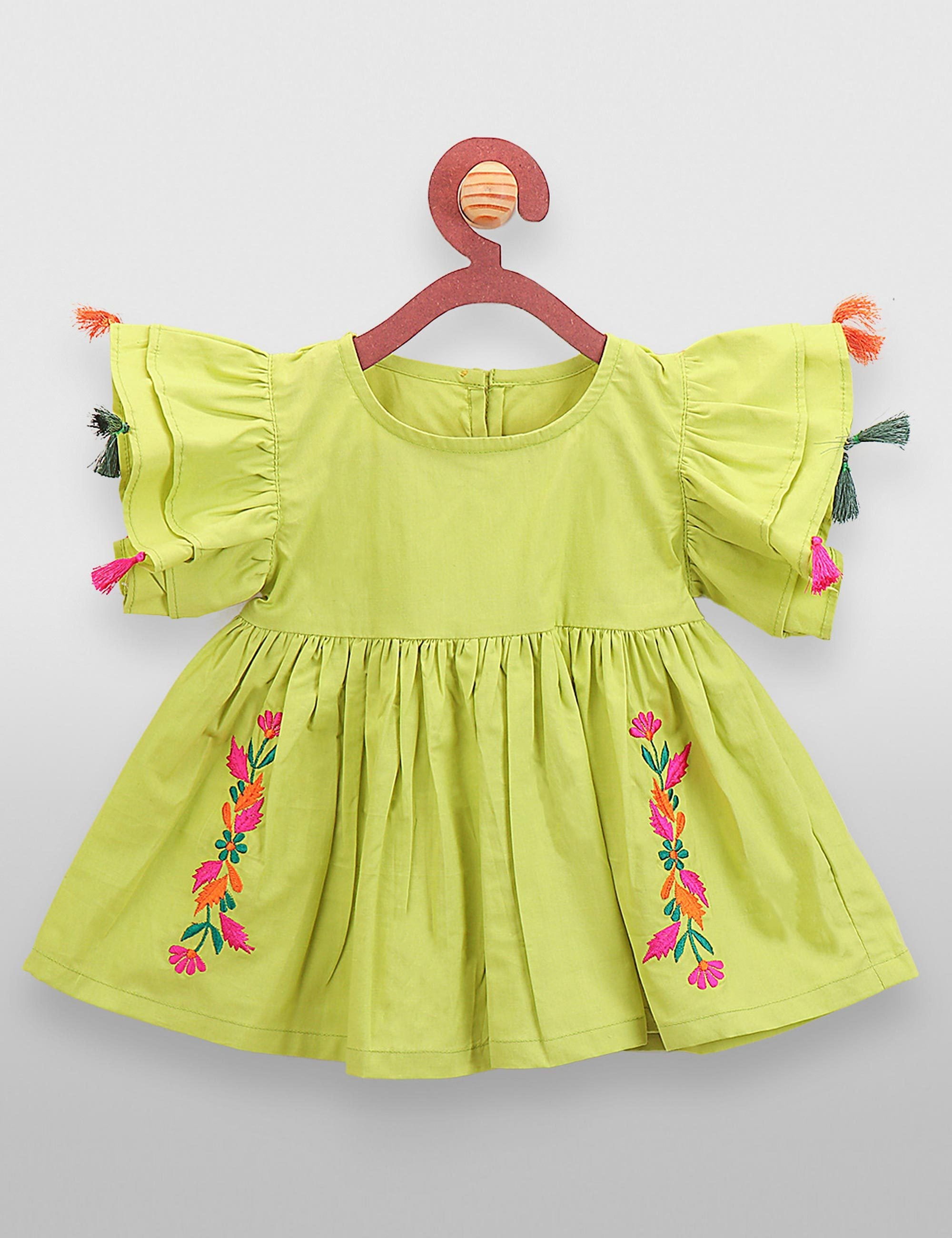 Lime Green Embroidery Tassel Long Top for Girls