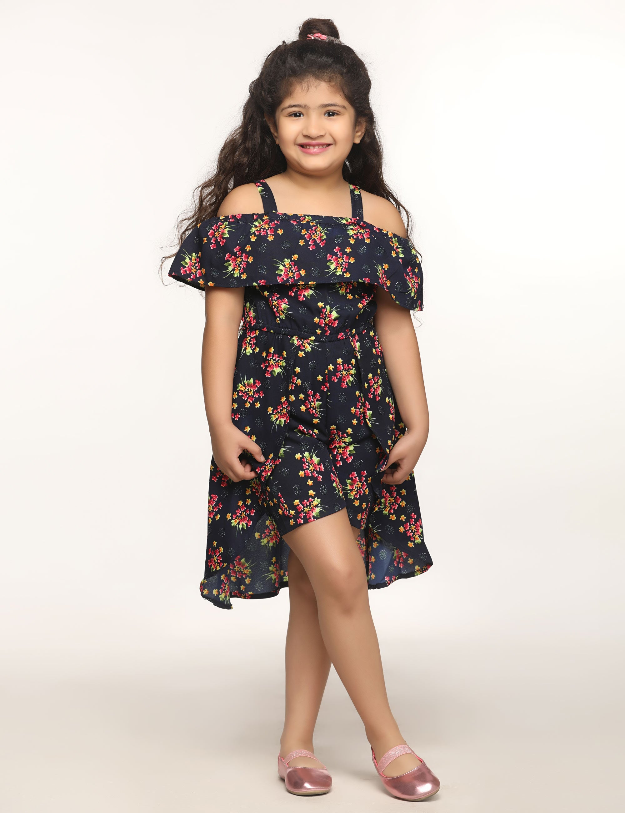 Rose Print Navy Blue Dress for Girls