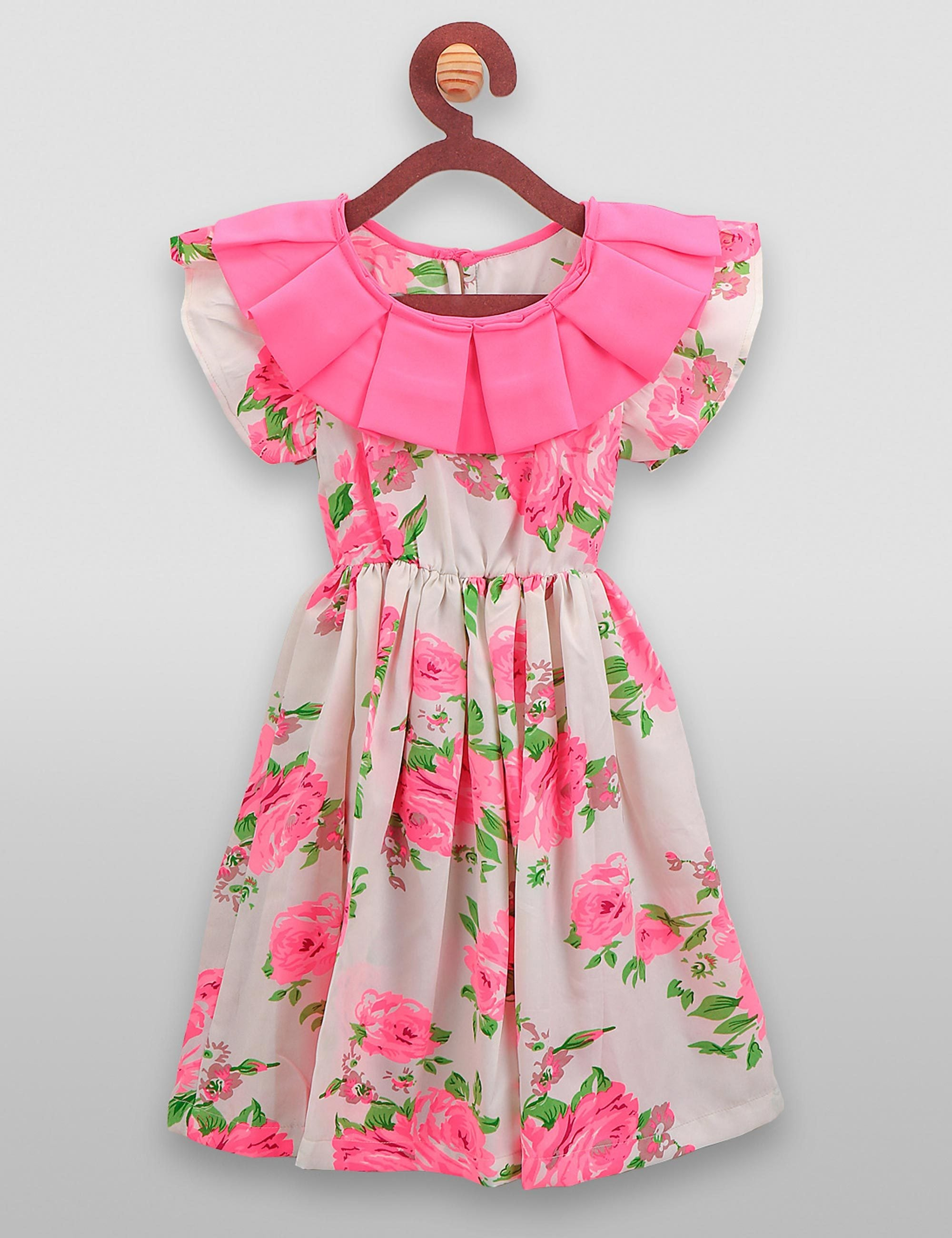 Neon Pink Flowers Frilly Dress for Girls