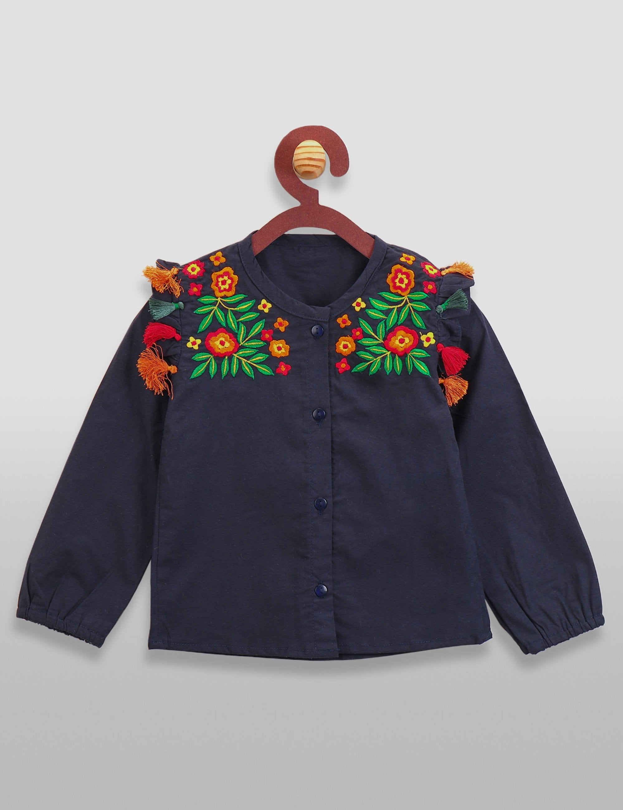 Navy Designer Embroidery Tassel Shirt Top for Girls