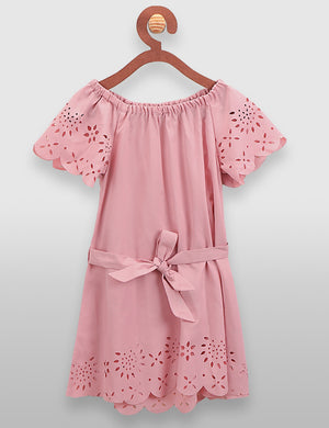 Dusty Pink Designer Belt Dress