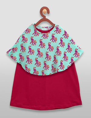 Elephant Print Cape and Maroon Dress Set