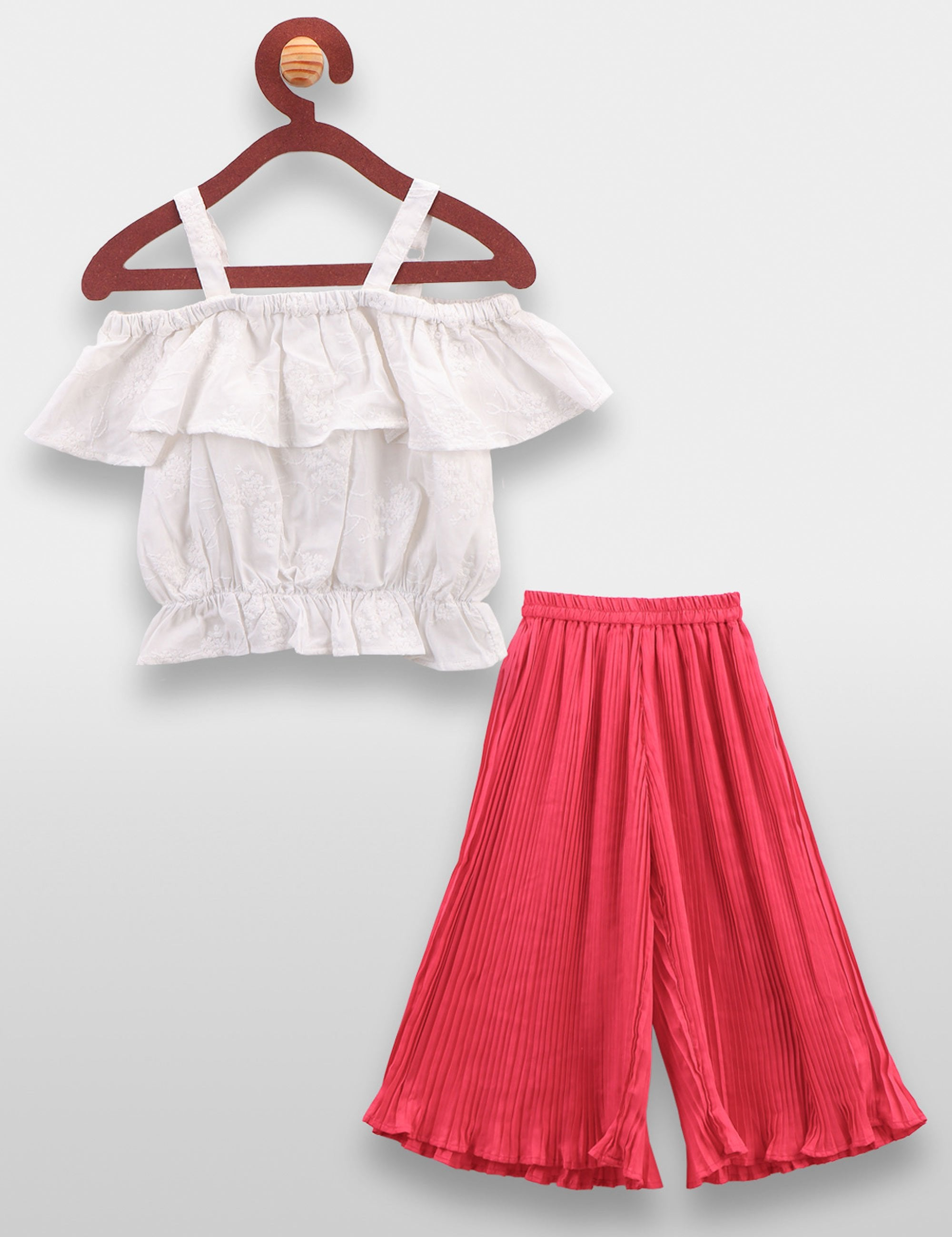 Embroidered Crop Top and Palazzo Pant Set