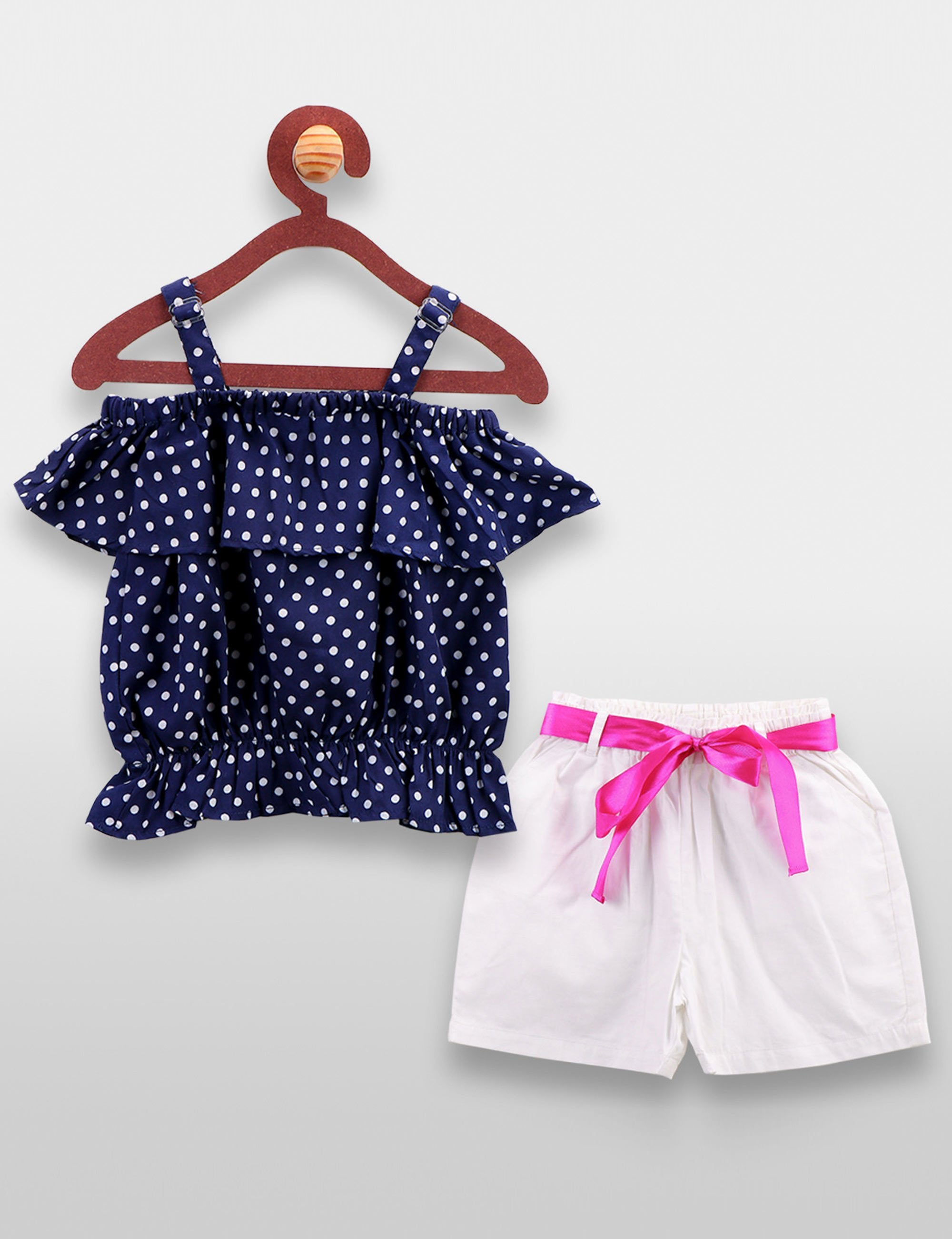 Blue Polka Crop Top and Shorts Set