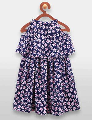 Blue Flower Print Cape Dress