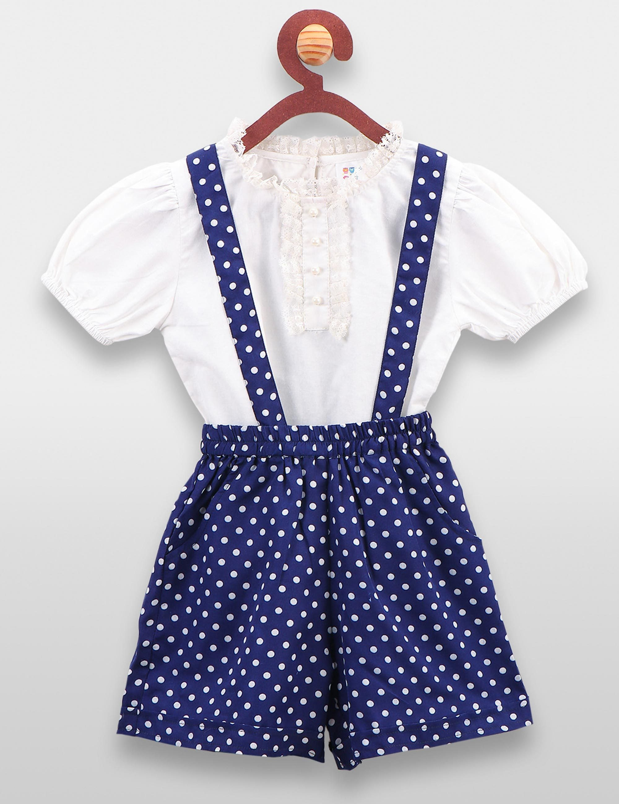 Vintage White Top and Blue Polka Dungaree Short Set