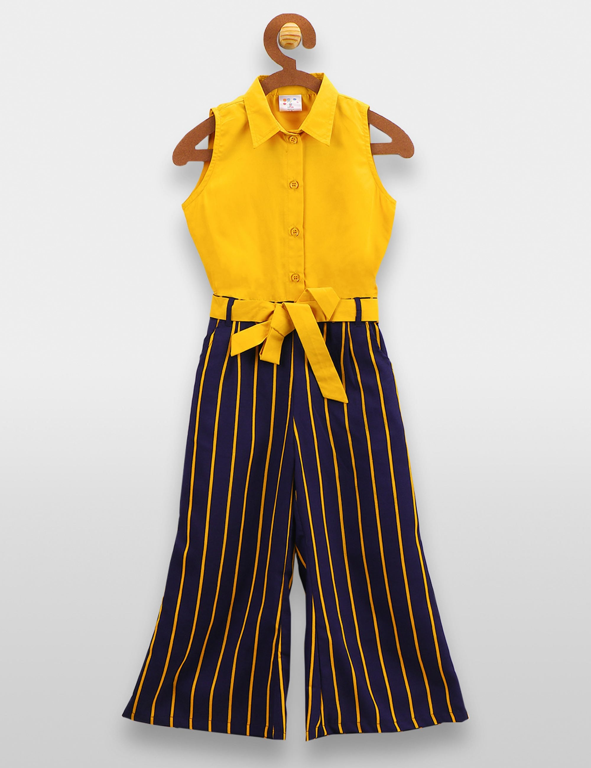 Mustard Striped Blue Formal Jumpsuit
