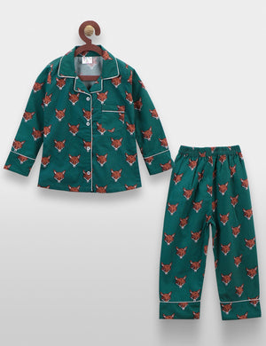 Green Fox Print Night Suit