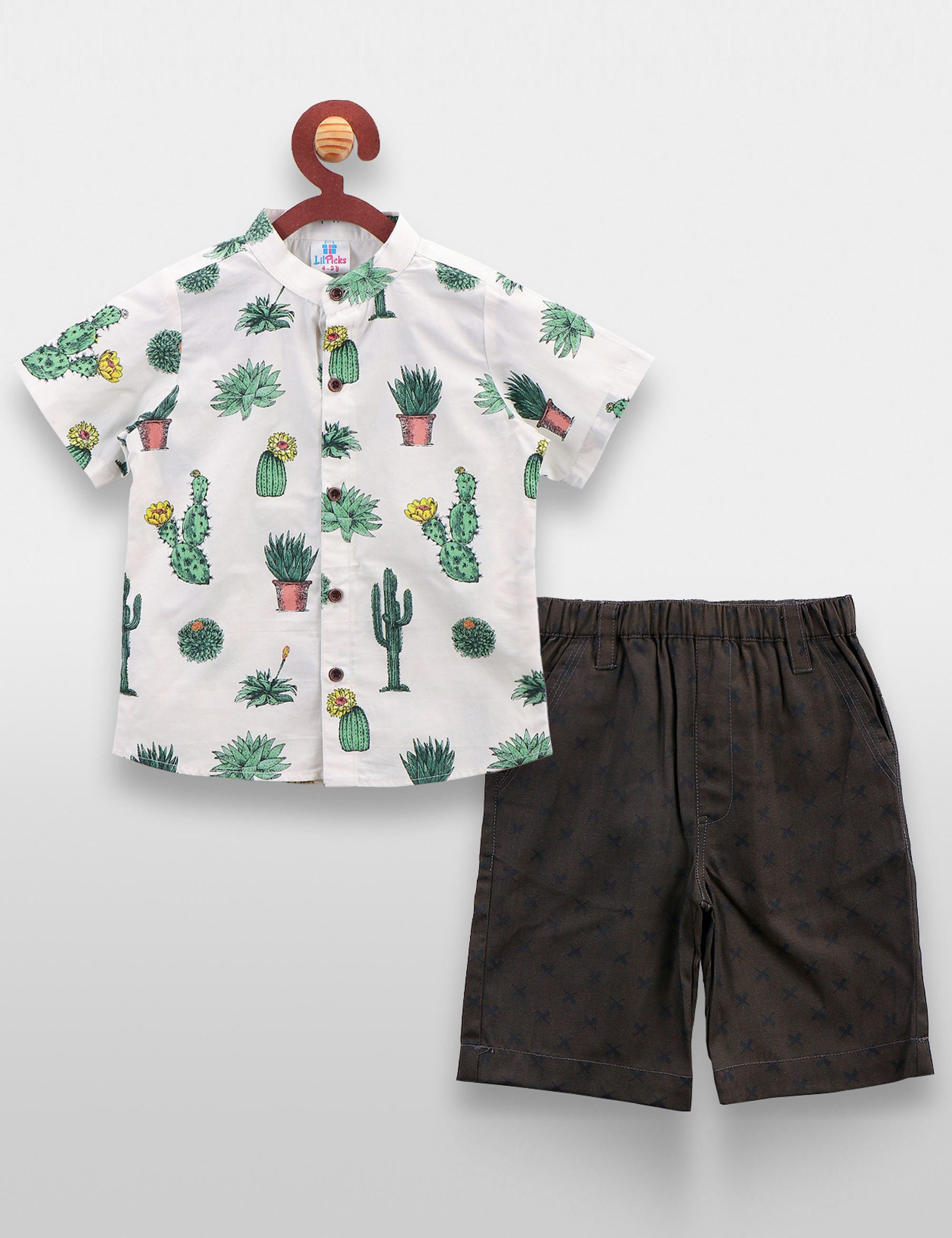 Cactus Print Shirt with Denim Shorts Set