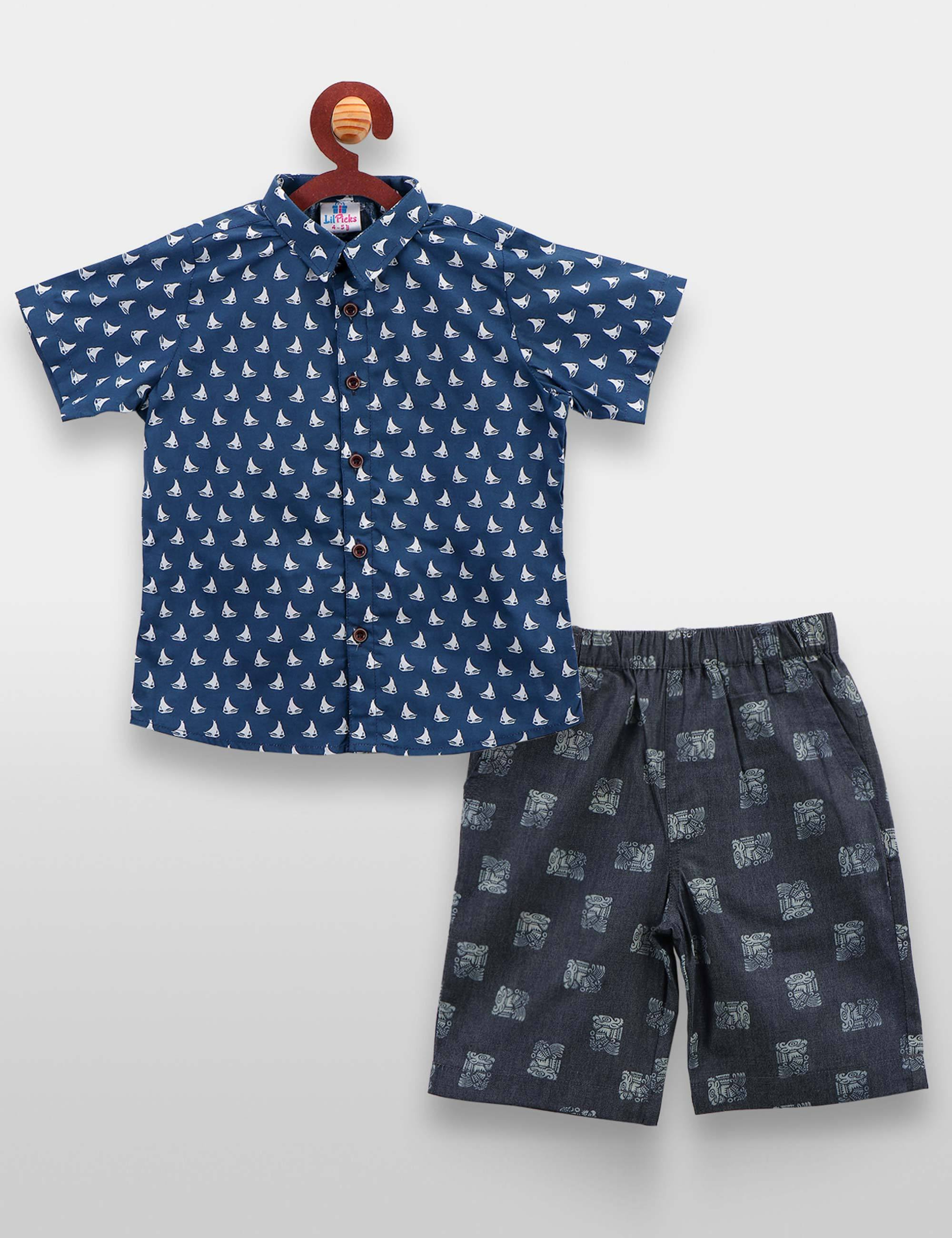 Blue Boat Print Shirt with Denim Shorts Set