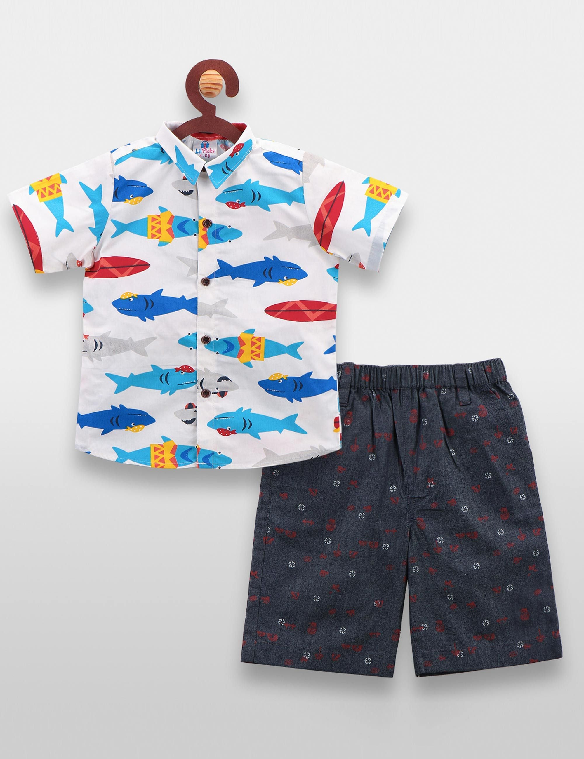 White Fish Print Shirt with Denim Shorts Set