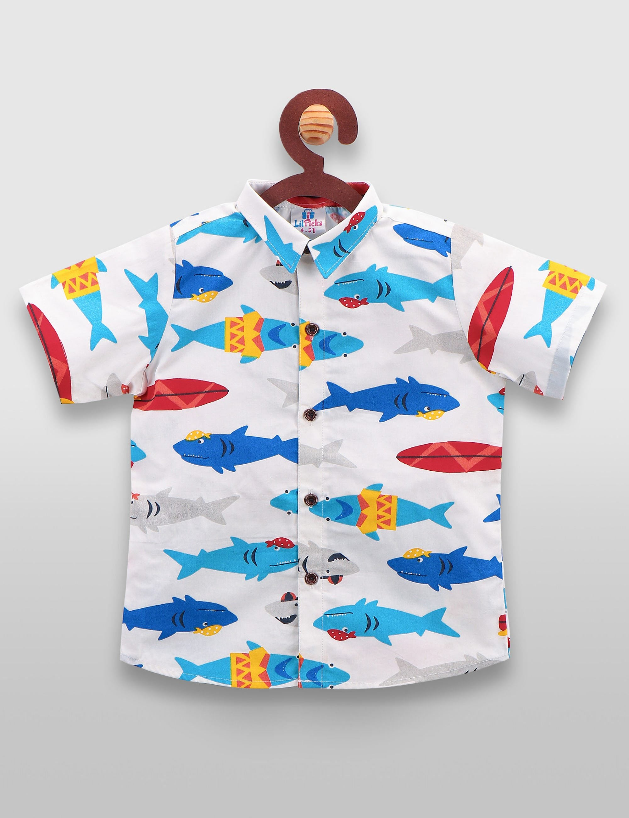 Fish printed shirt in white colour