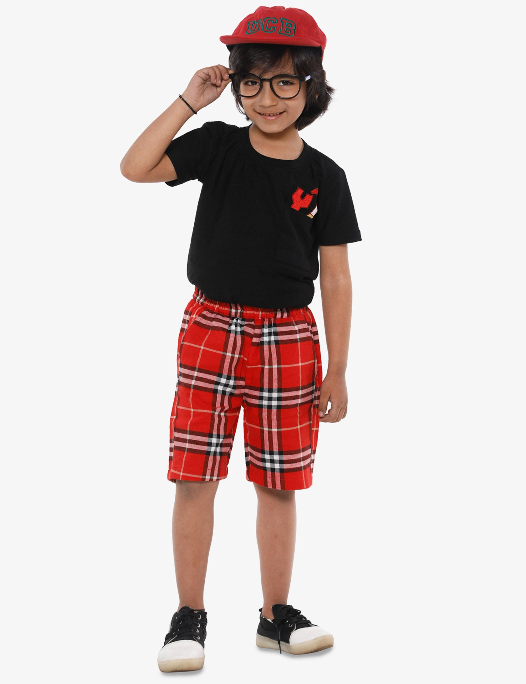 Black Tools Pocket Tshirt and Red Shorts Set .